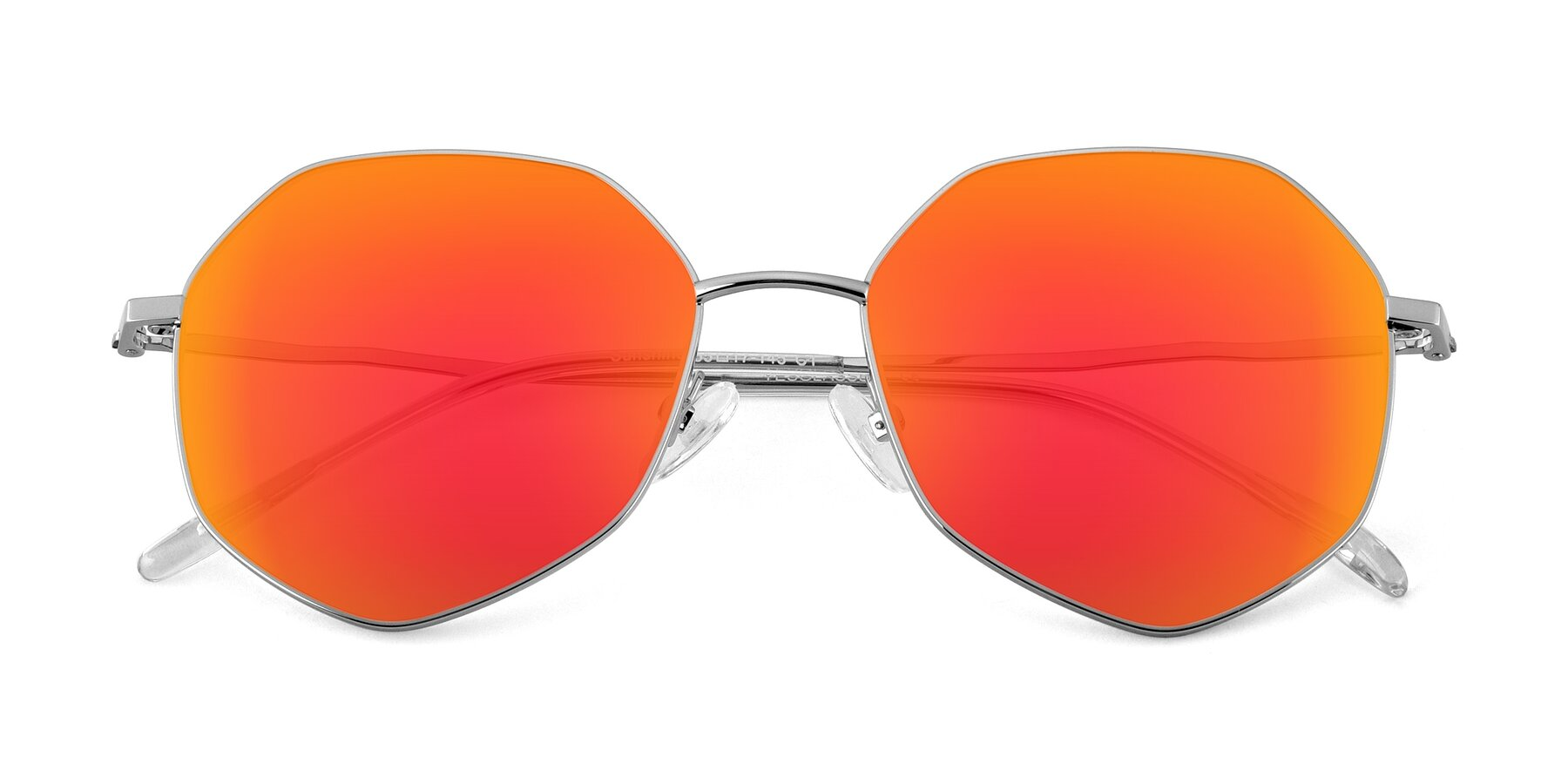Folded Front of Sunshine in Silver with Red Gold Mirrored Lenses
