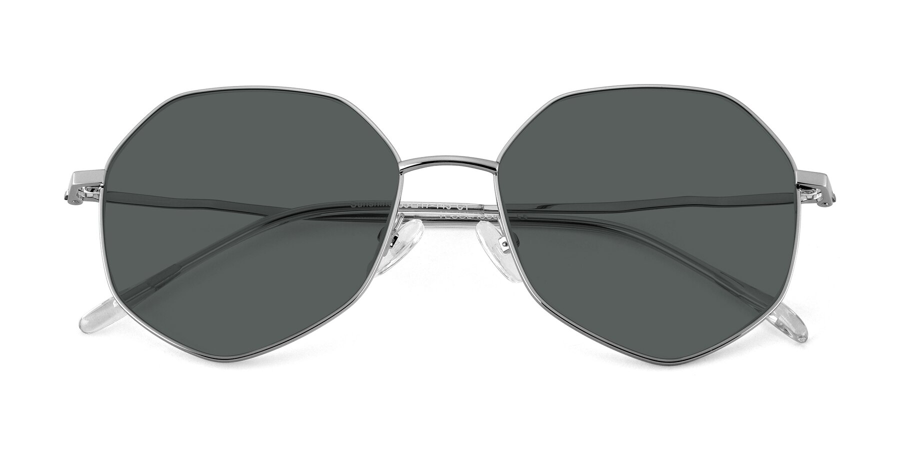 Folded Front of Sunshine in Silver with Gray Polarized Lenses