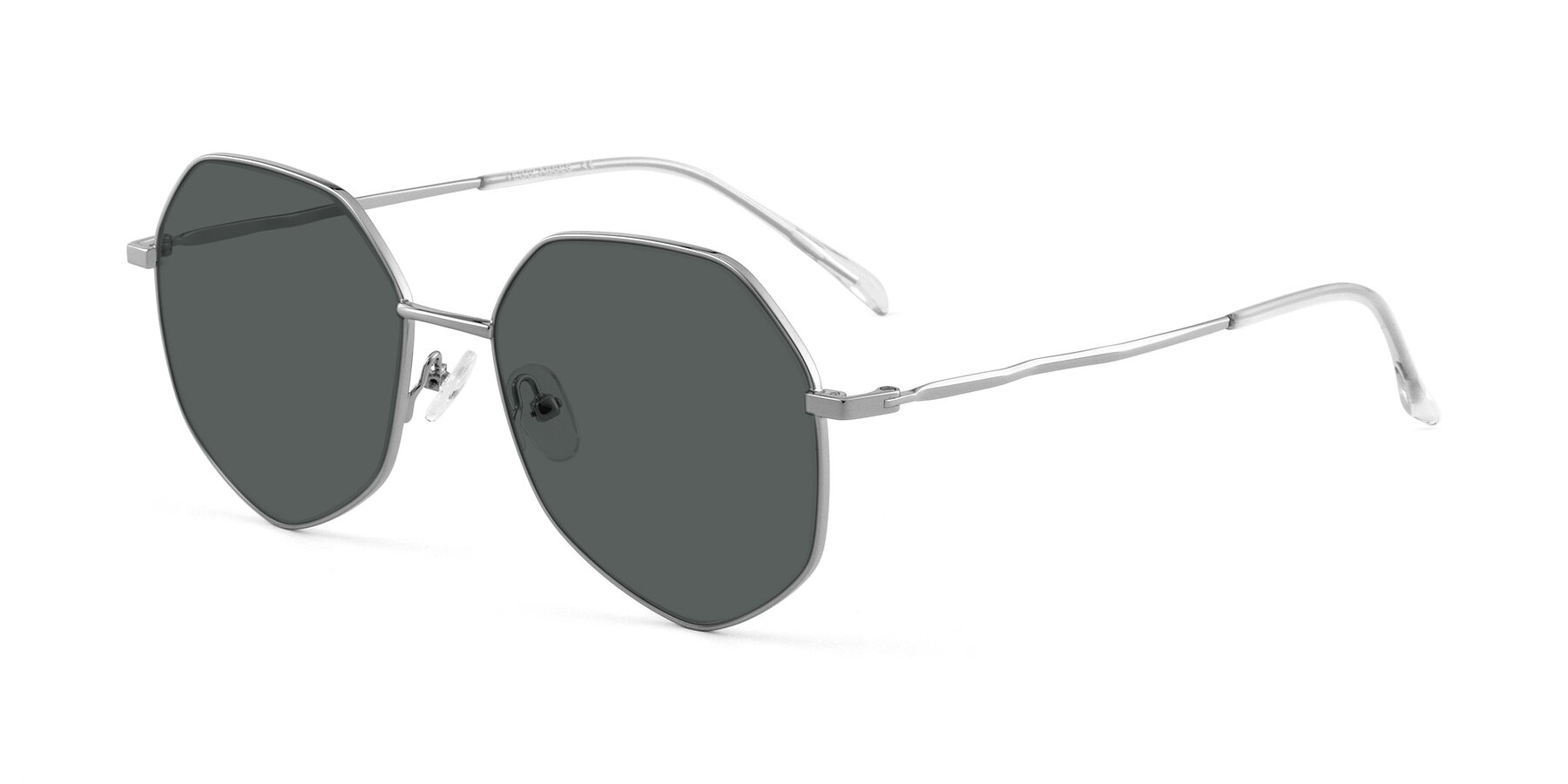 Angle of Sunshine in Silver with Gray Polarized Lenses