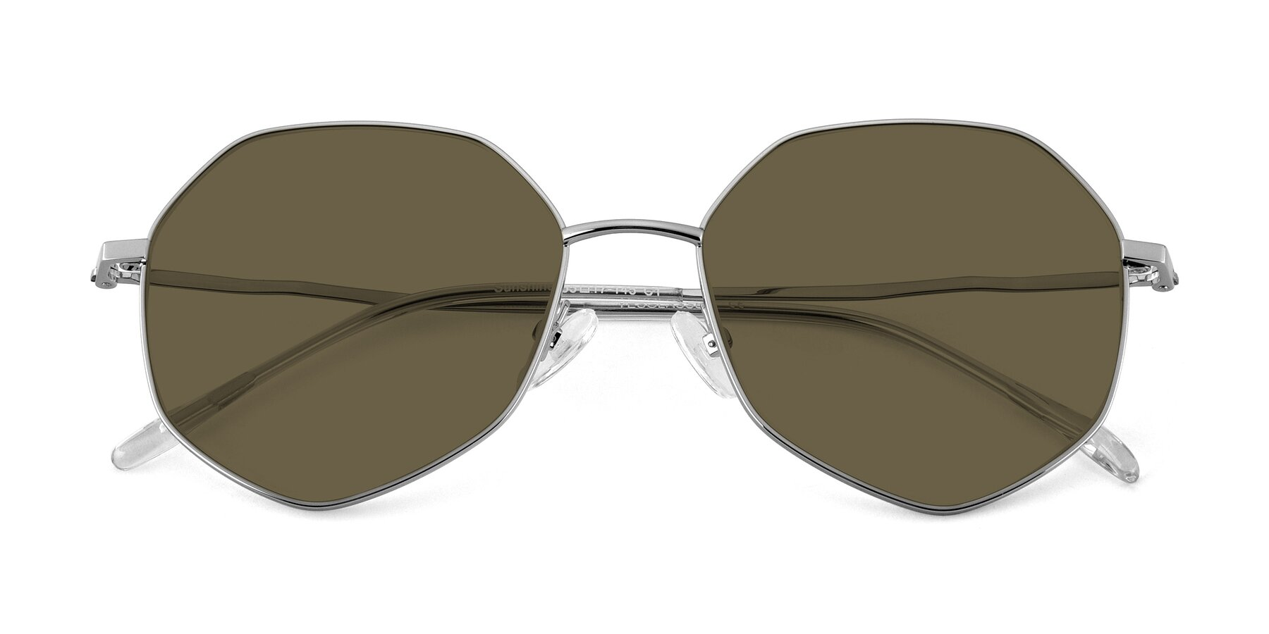 Folded Front of Sunshine in Sliver with Brown Polarized Lenses
