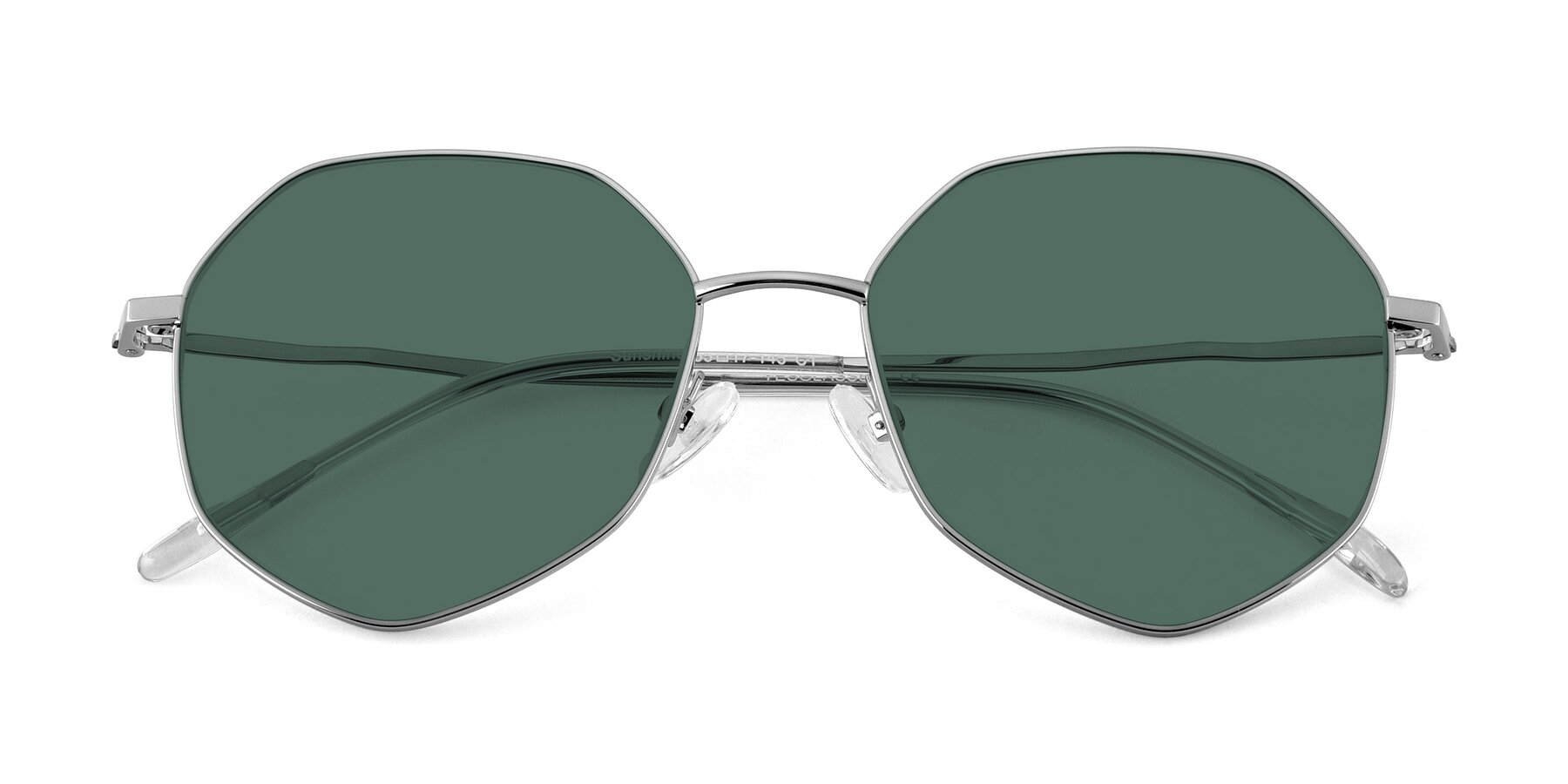 Folded Front of Sunshine in Silver with Green Polarized Lenses