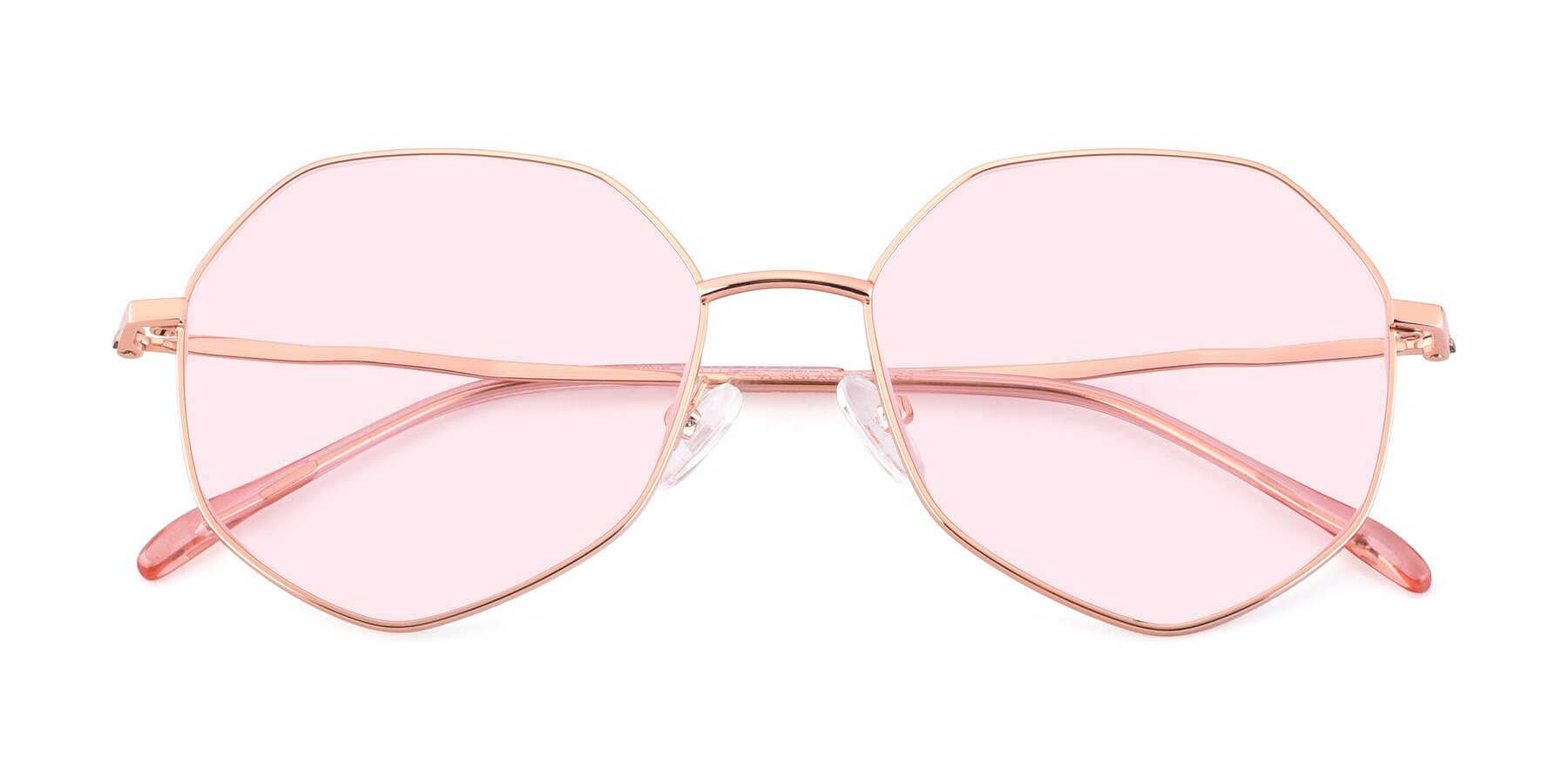 Folded Front of Sunshine in Rose Gold with Light Pink Tinted Lenses