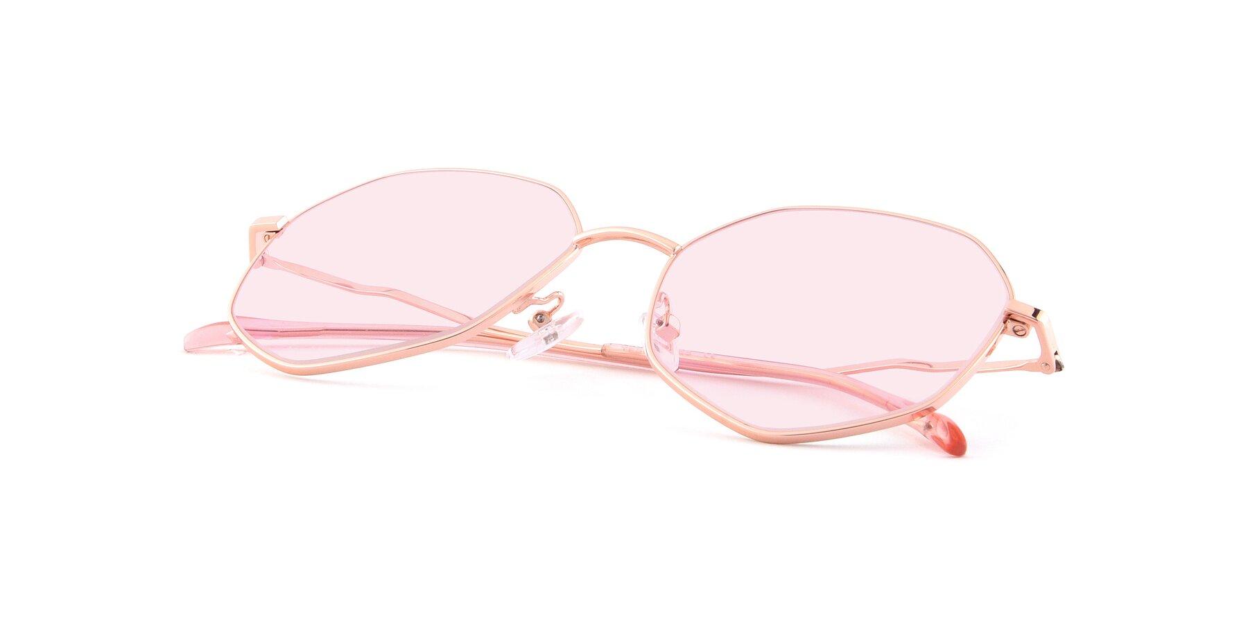 View of Sunshine in Rose Gold with Light Pink Tinted Lenses