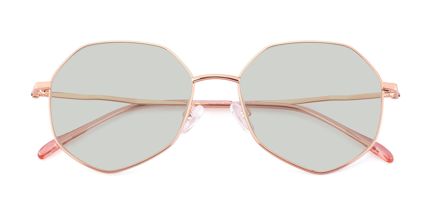 Folded Front of Sunshine in Rose Gold with Light Green Tinted Lenses