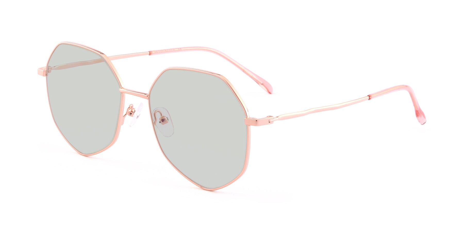 Angle of Sunshine in Rose Gold with Light Green Tinted Lenses