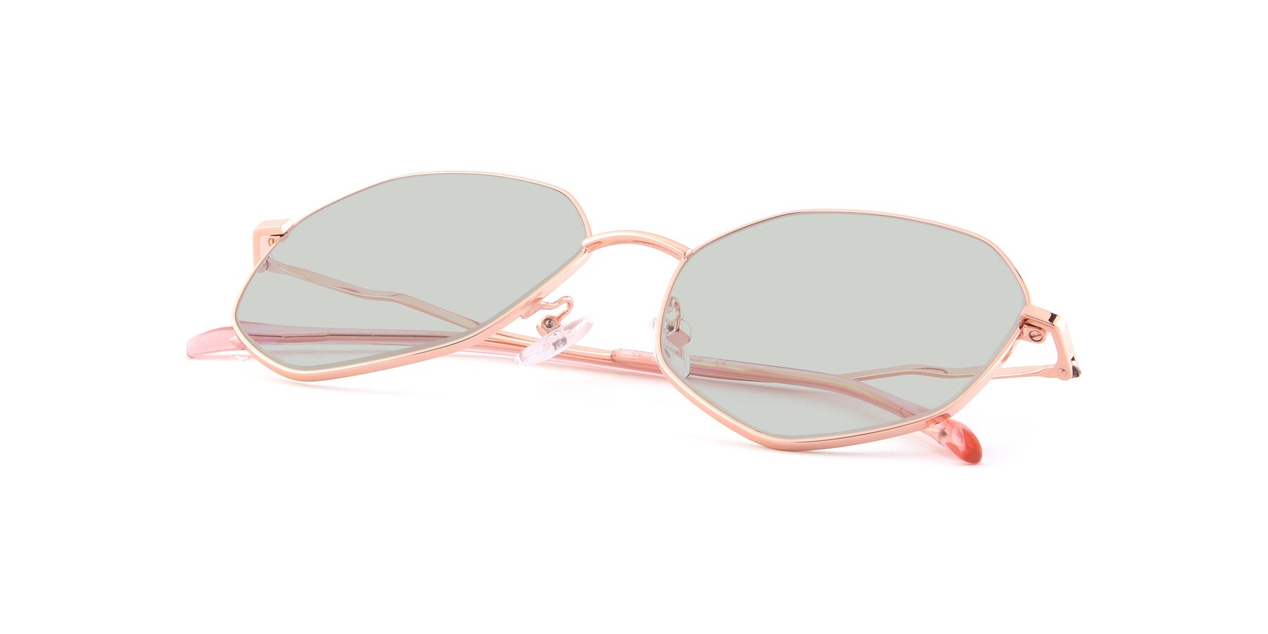 View of Sunshine in Rose Gold with Light Green Tinted Lenses
