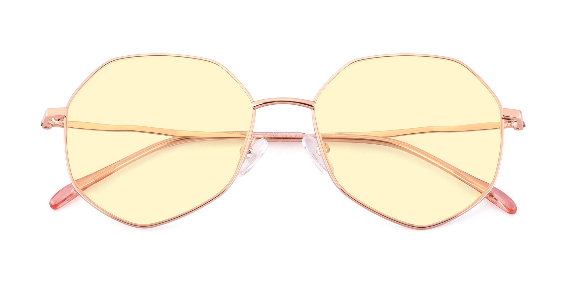 Folded Front of Sunshine in Rose Gold with Light Yellow Tinted Lenses