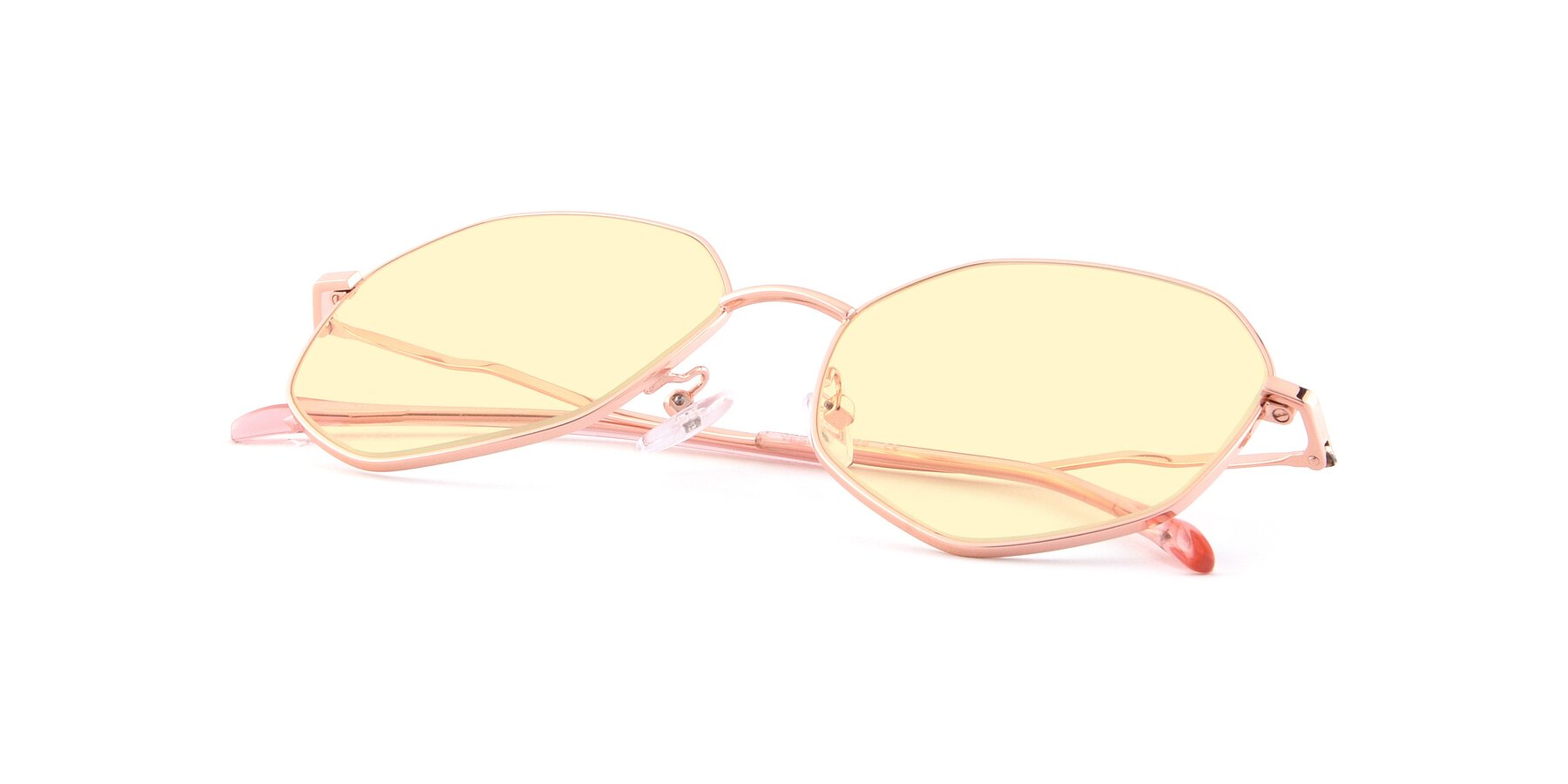 View of Sunshine in Rose Gold with Light Yellow Tinted Lenses