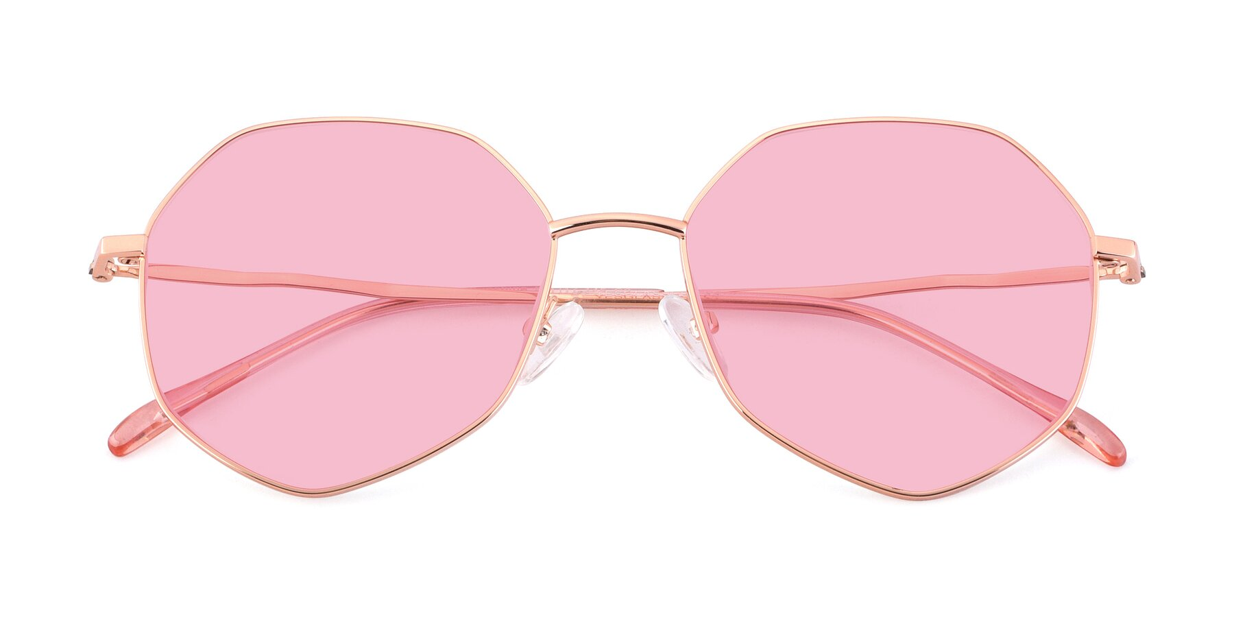 Folded Front of Sunshine in Rose Gold with Medium Pink Tinted Lenses