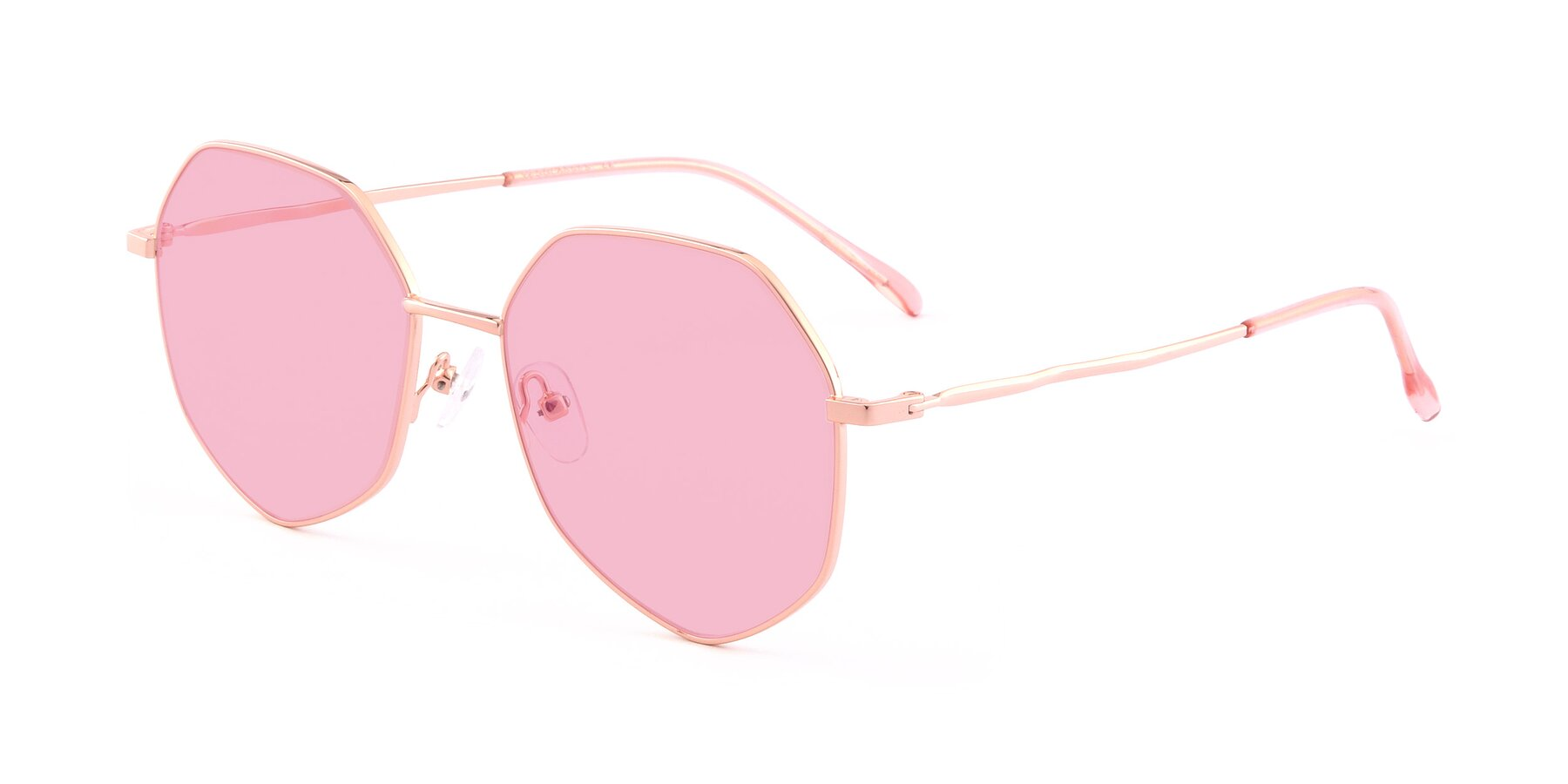 Angle of Sunshine in Rose Gold with Medium Pink Tinted Lenses