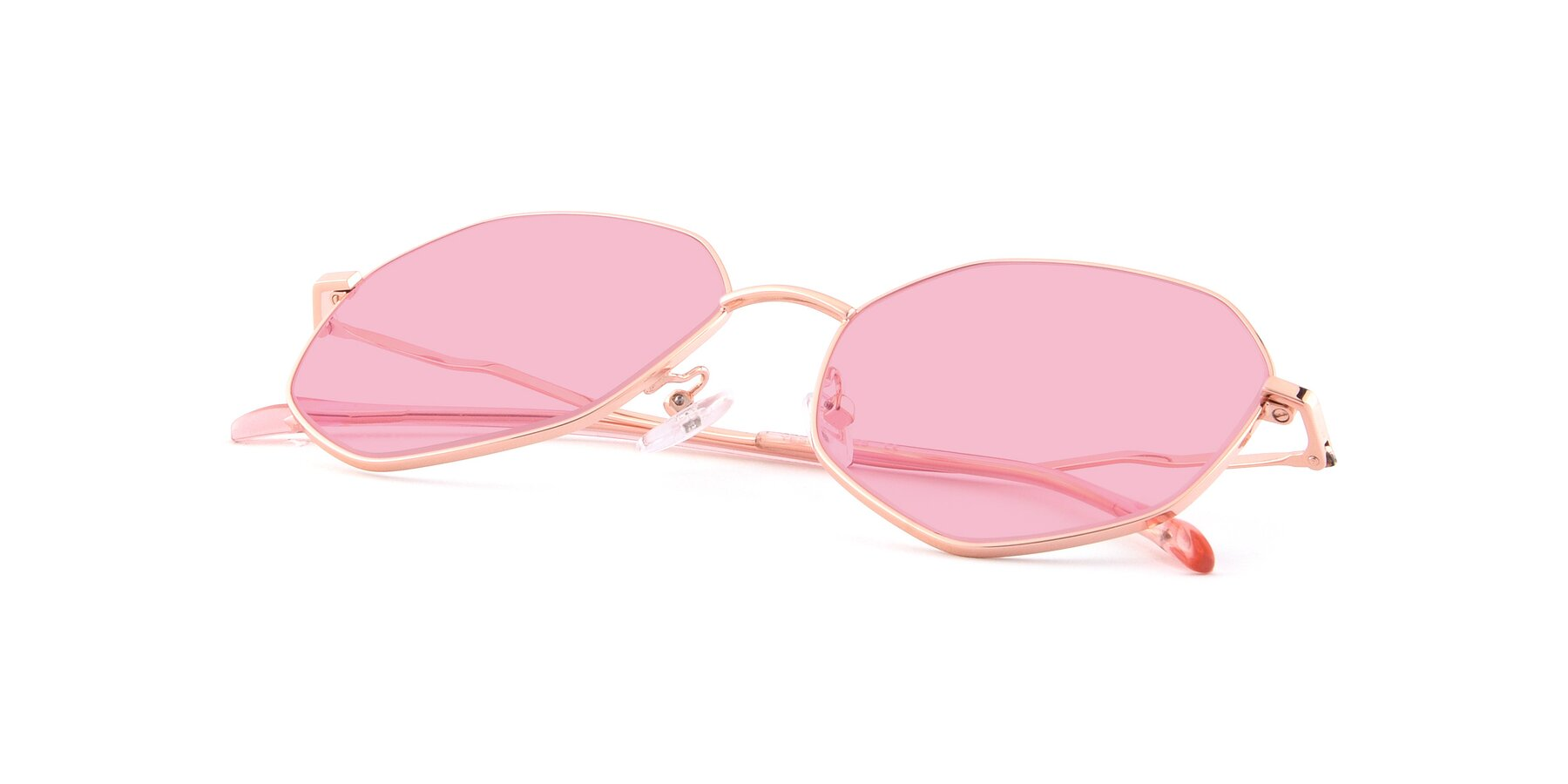 View of Sunshine in Rose Gold with Medium Pink Tinted Lenses