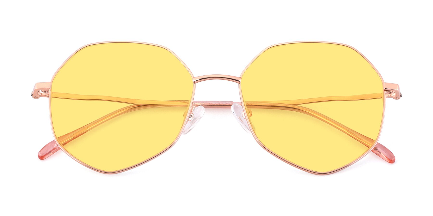 Folded Front of Sunshine in Rose Gold with Medium Yellow Tinted Lenses