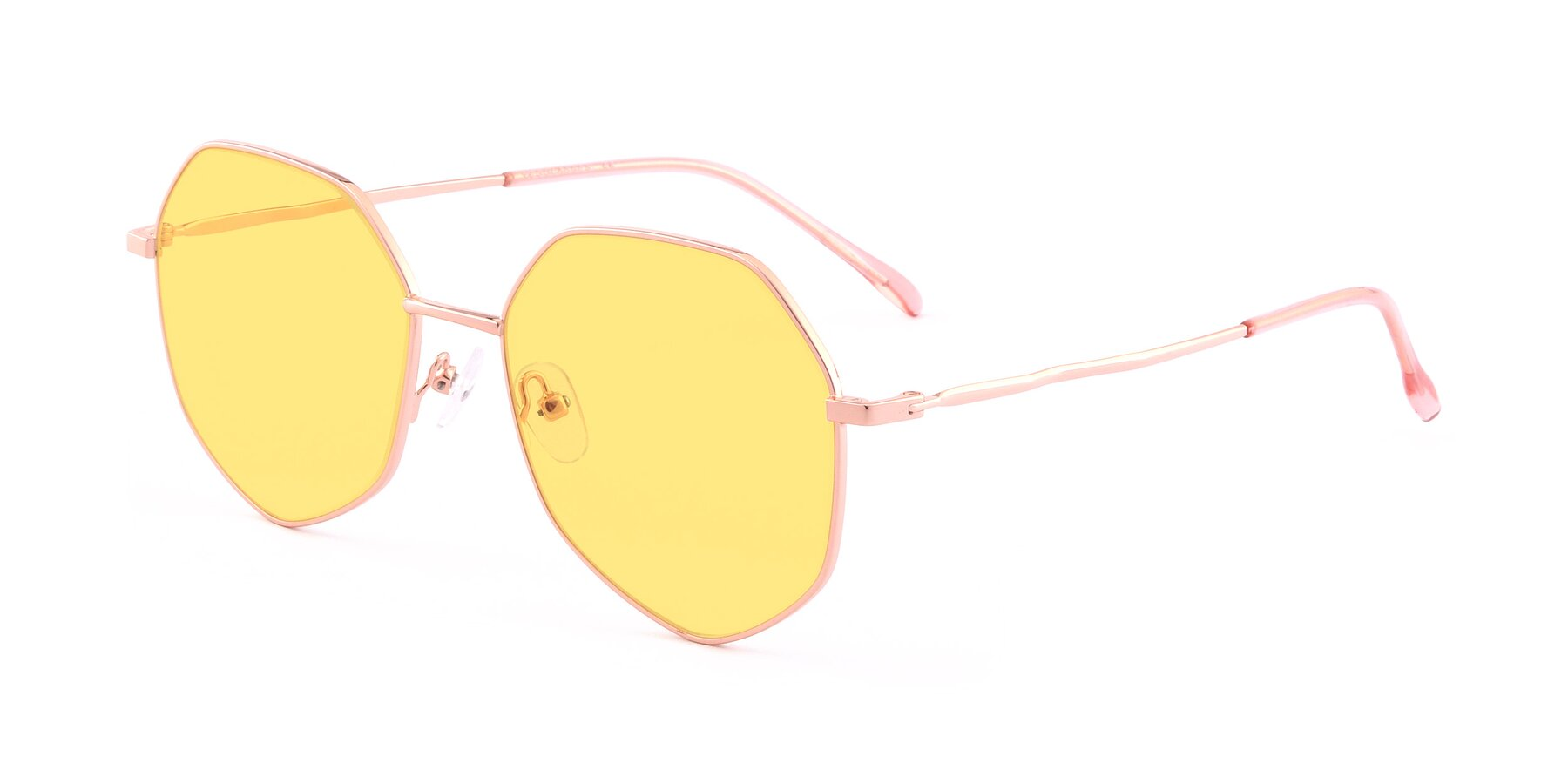 Angle of Sunshine in Rose Gold with Medium Yellow Tinted Lenses