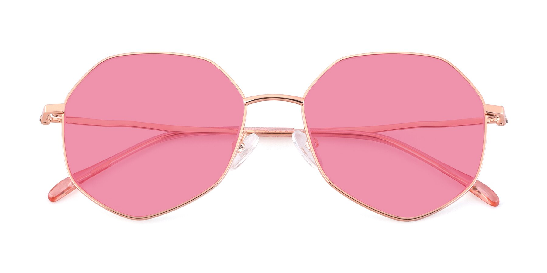Folded Front of Sunshine in Rose Gold with Pink Tinted Lenses