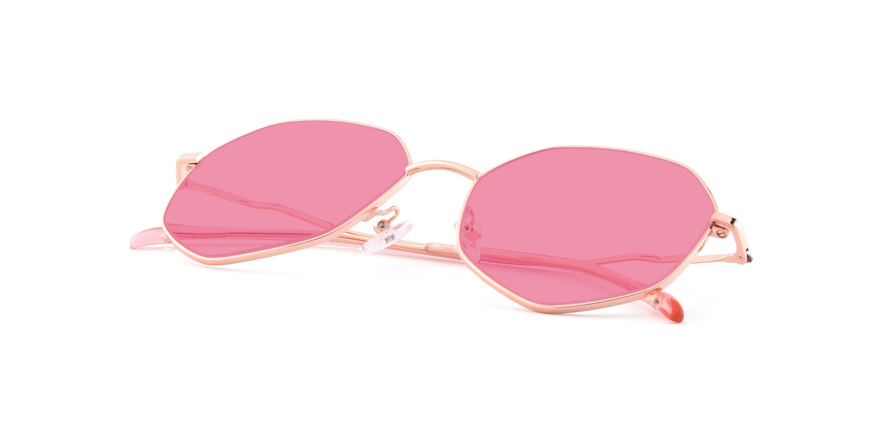 View of Sunshine in Rose Gold with Pink Tinted Lenses