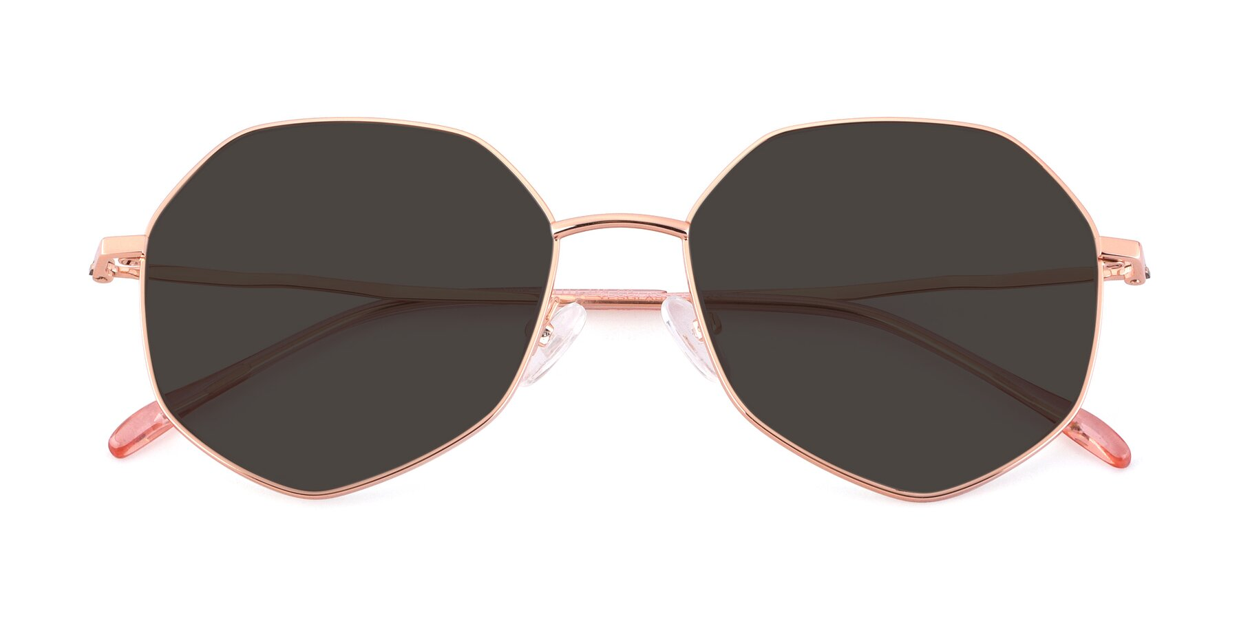 Folded Front of Sunshine in Rose Gold with Gray Tinted Lenses