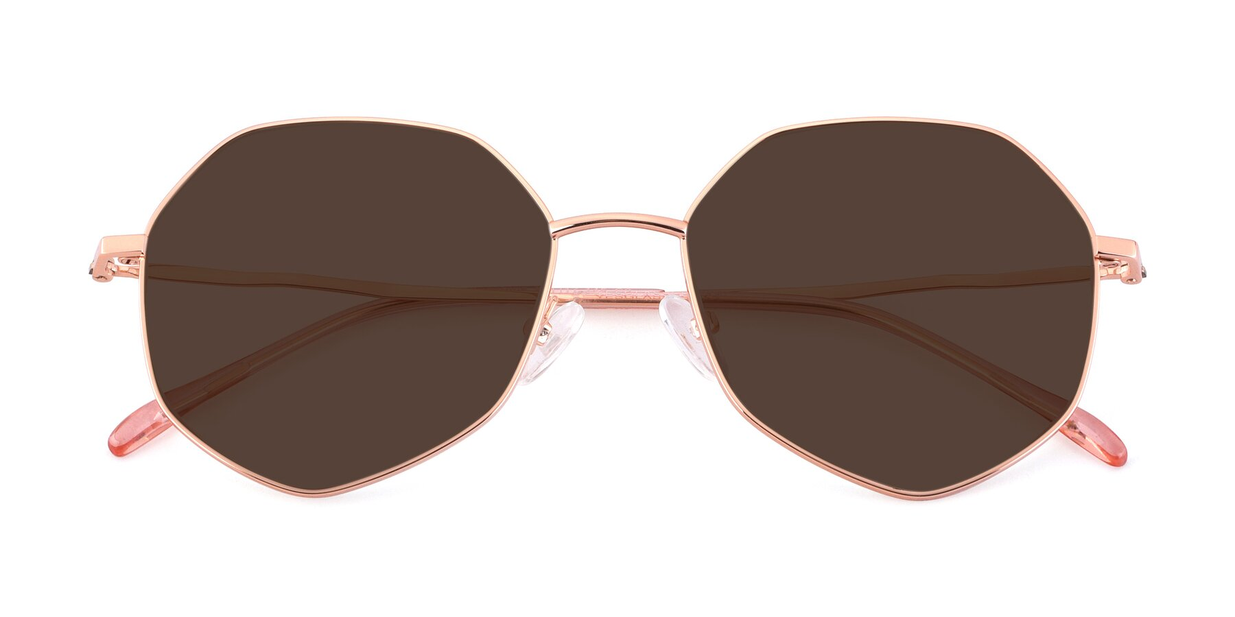 Folded Front of Sunshine in Rose Gold with Brown Tinted Lenses