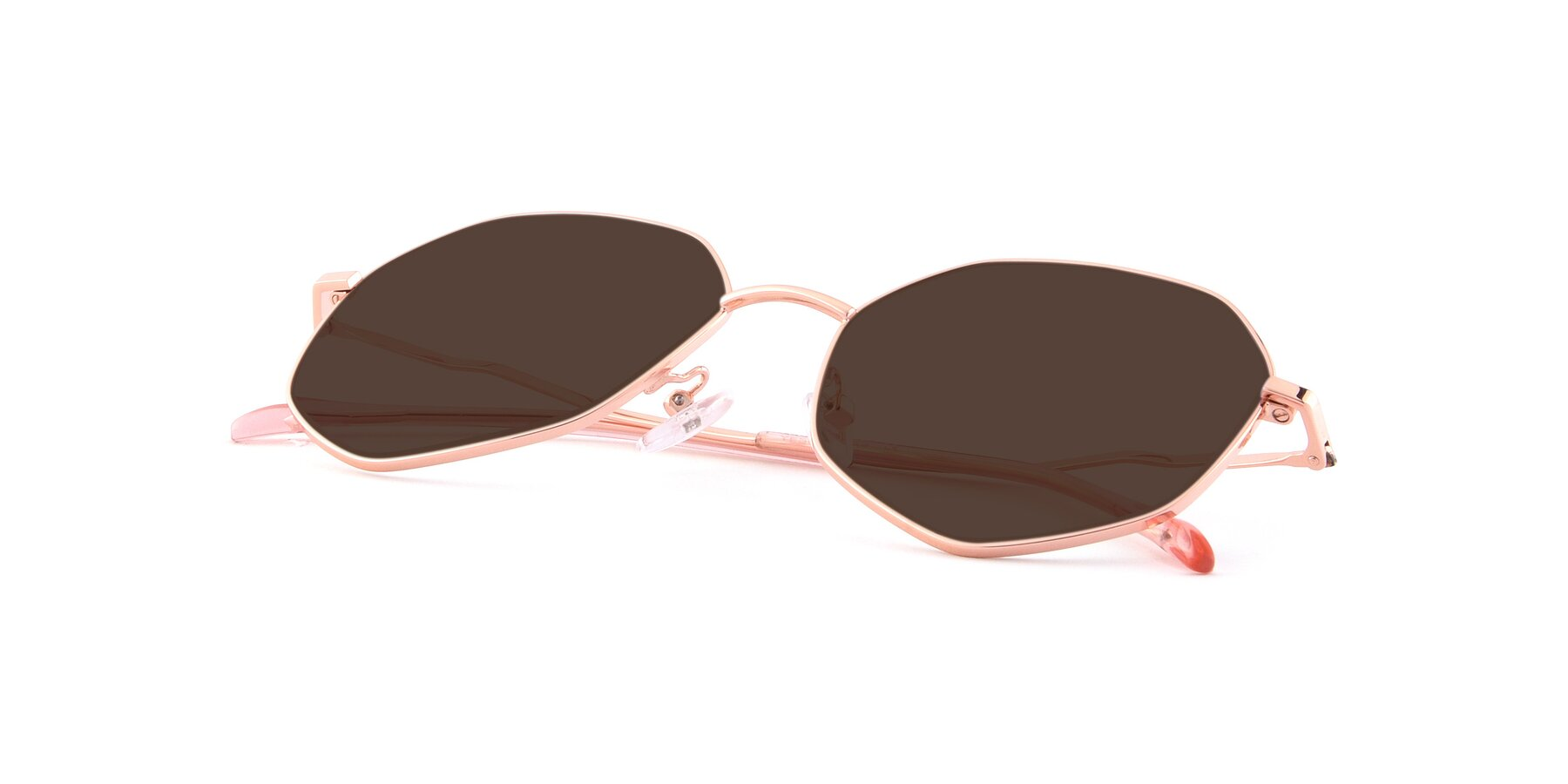 View of Sunshine in Rose Gold with Brown Tinted Lenses