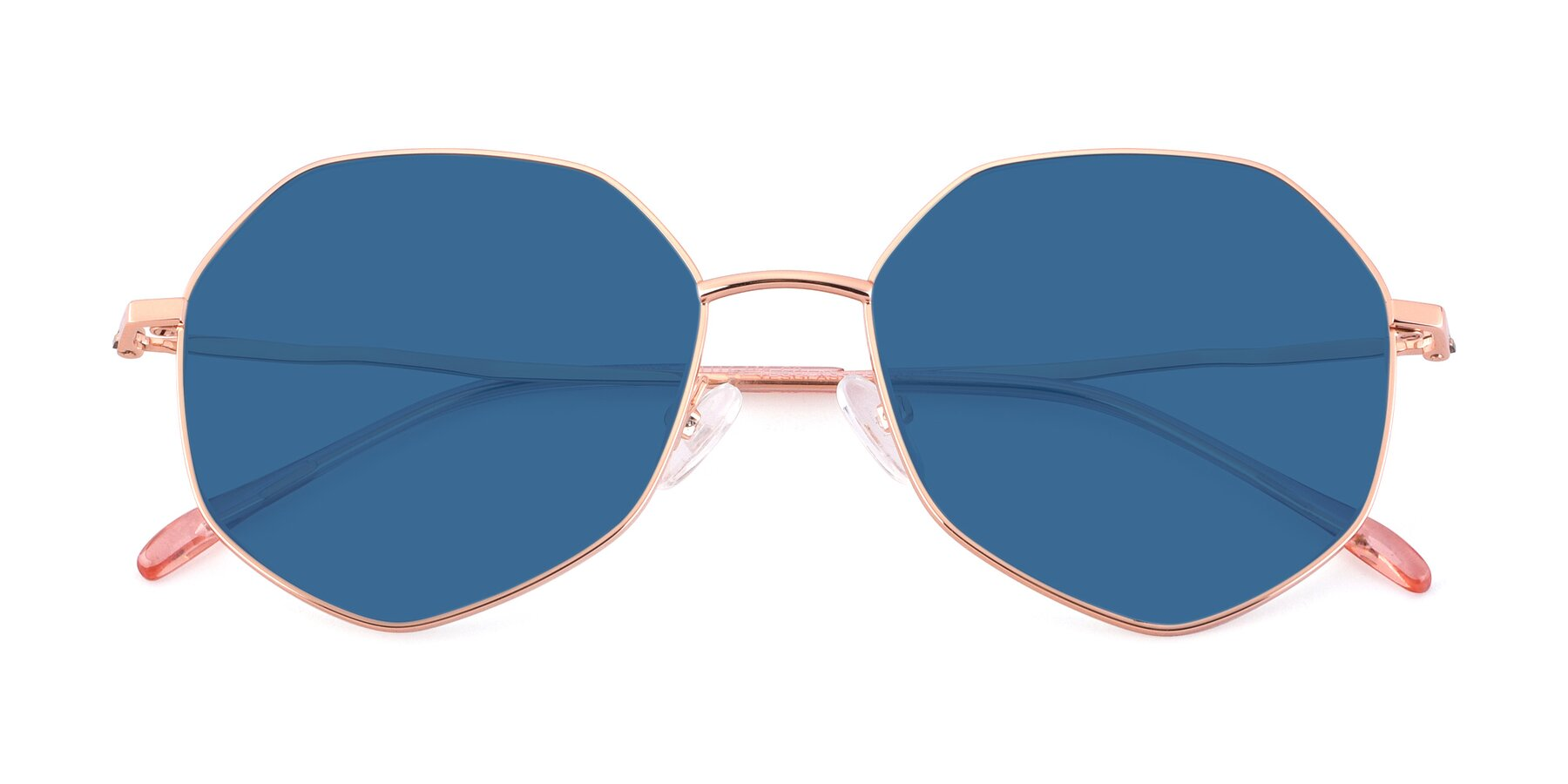 Folded Front of Sunshine in Rose Gold with Blue Tinted Lenses