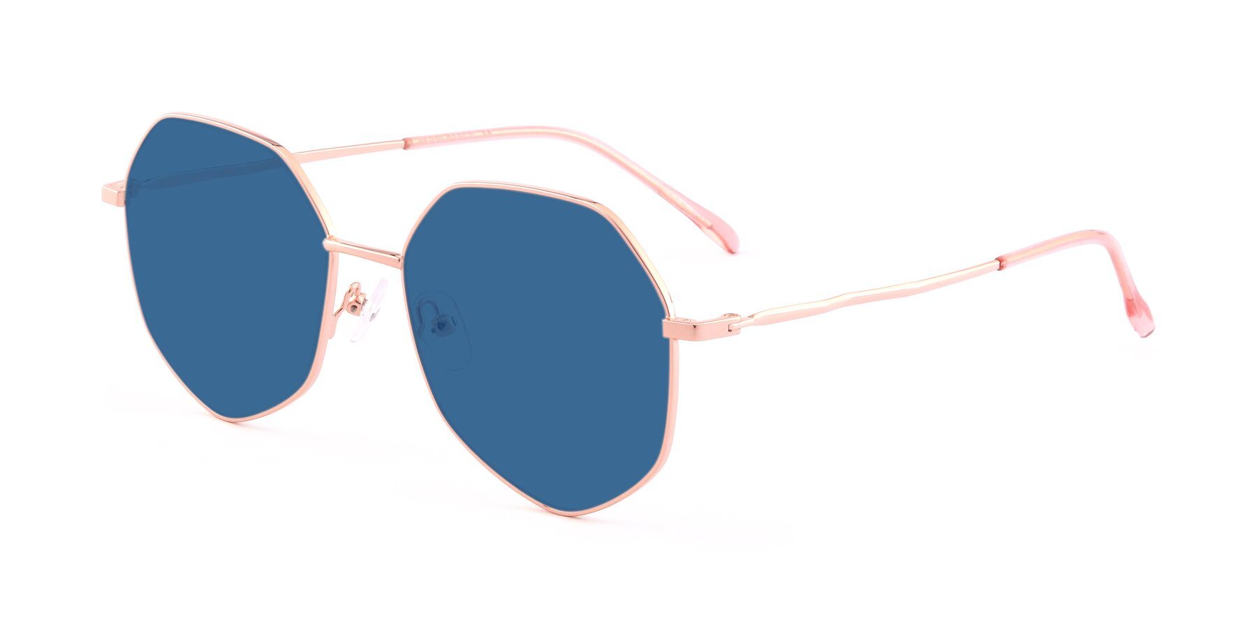 Angle of Sunshine in Rose Gold with Blue Tinted Lenses