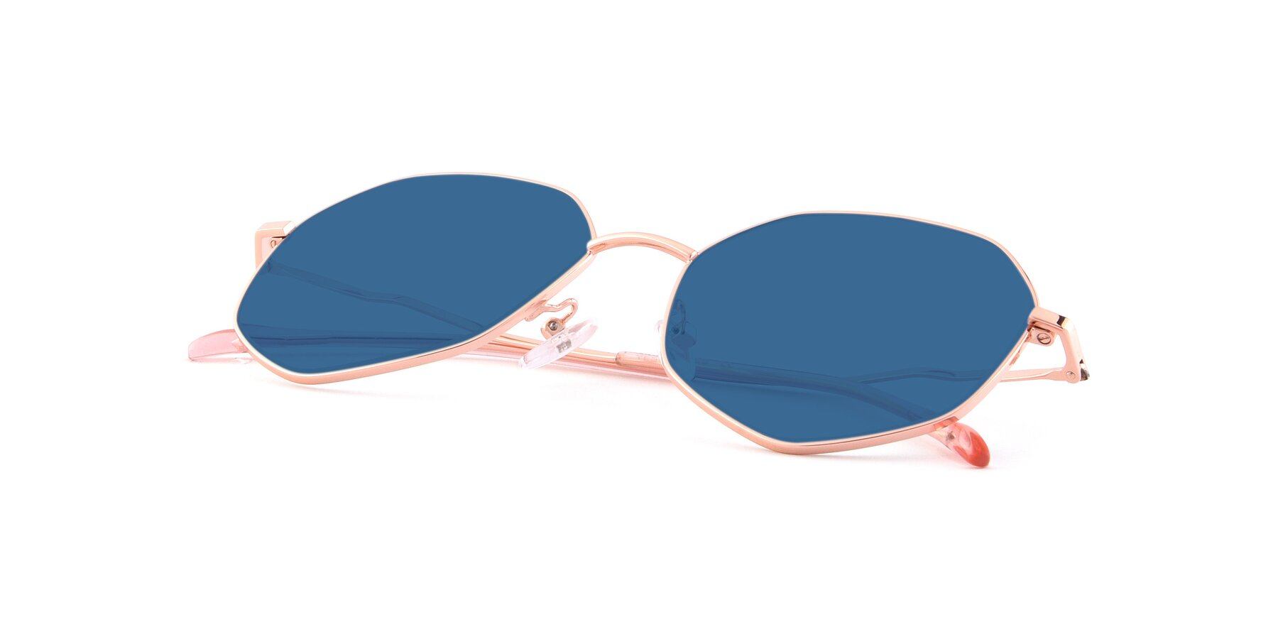 View of Sunshine in Rose Gold with Blue Tinted Lenses