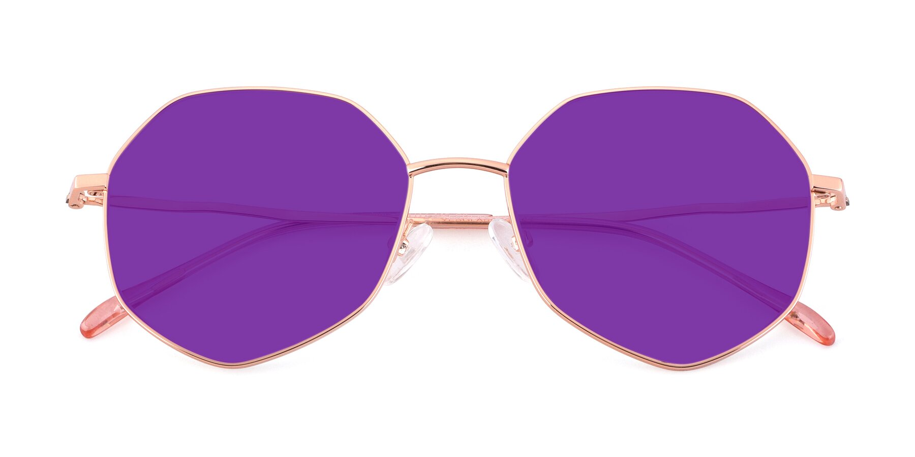 Folded Front of Sunshine in Rose Gold with Purple Tinted Lenses