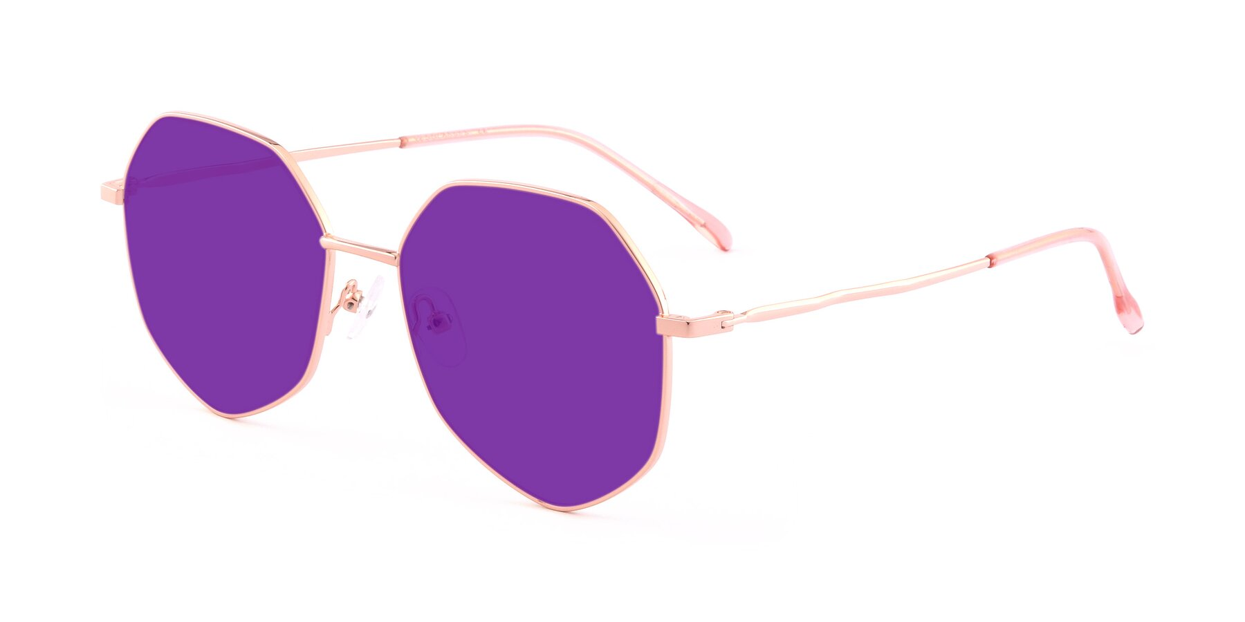 Angle of Sunshine in Rose Gold with Purple Tinted Lenses