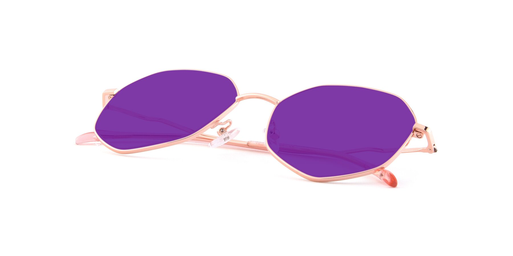 View of Sunshine in Rose Gold with Purple Tinted Lenses