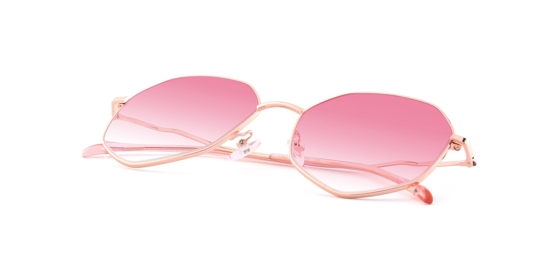 View of Sunshine in Rose Gold with Pink Gradient Lenses