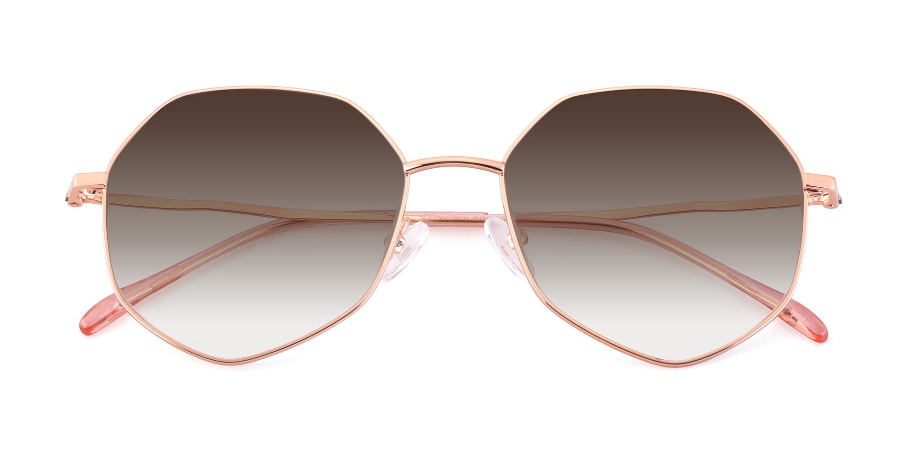 Folded Front of Sunshine in Rose Gold with Brown Gradient Lenses