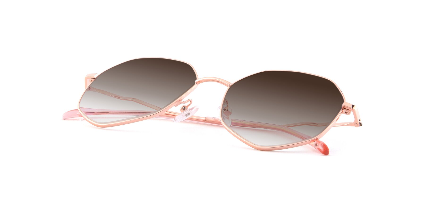 View of Sunshine in Rose Gold with Brown Gradient Lenses