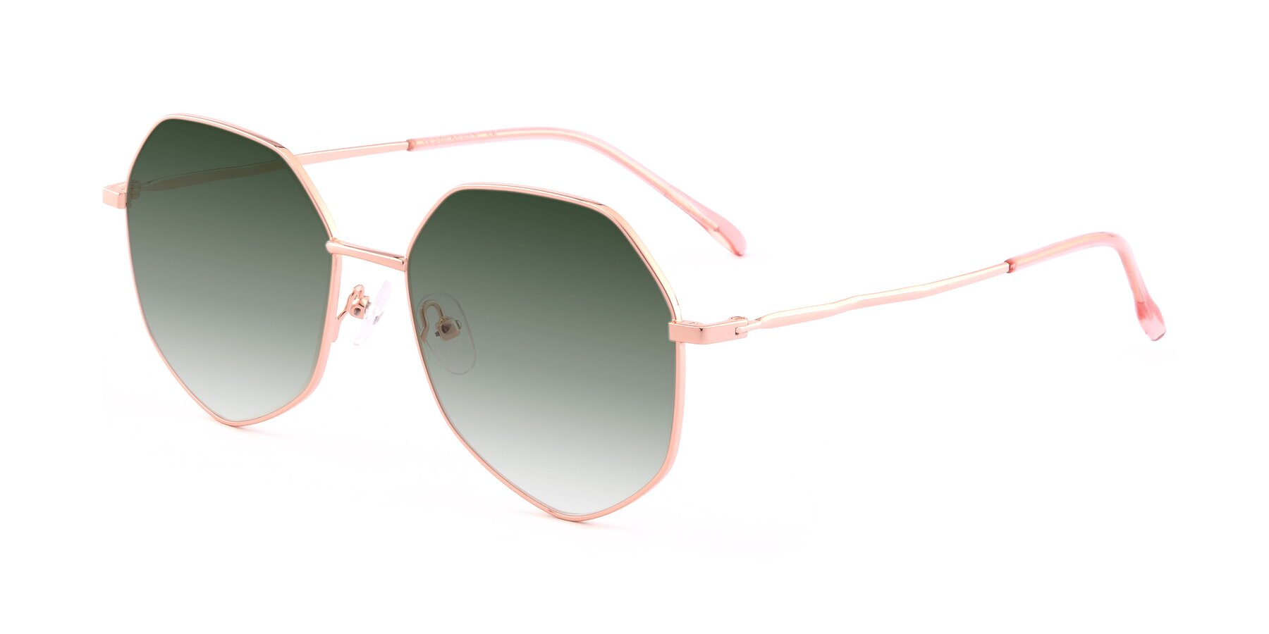 Angle of Sunshine in Rose Gold with Green Gradient Lenses