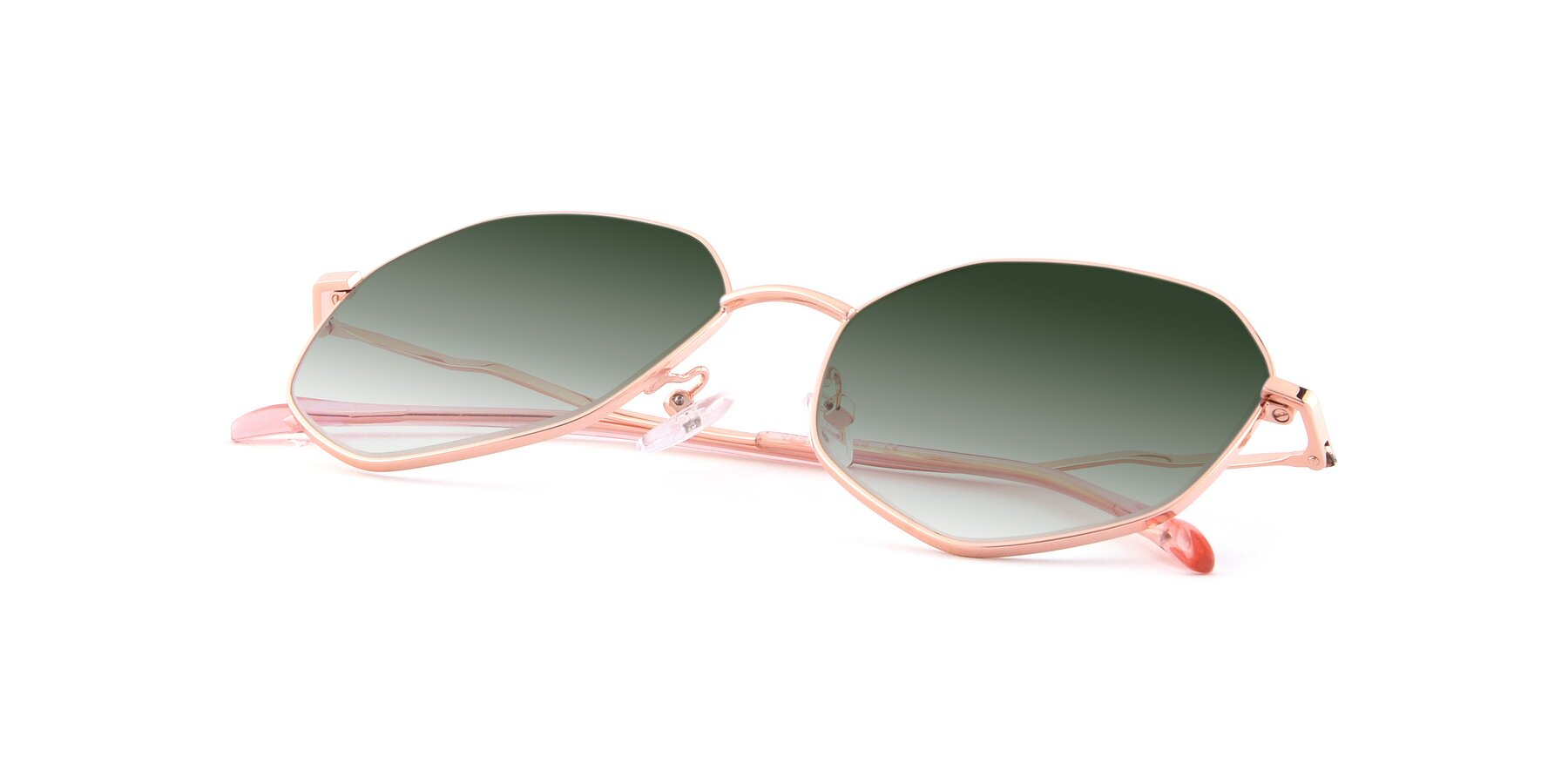 View of Sunshine in Rose Gold with Green Gradient Lenses