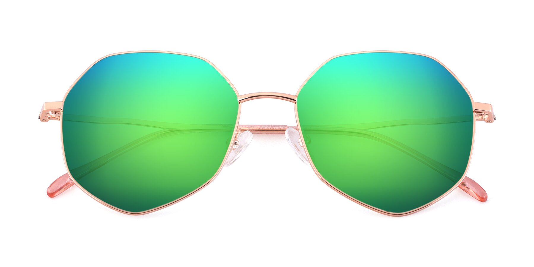 Folded Front of Sunshine in Rose Gold with Green Mirrored Lenses