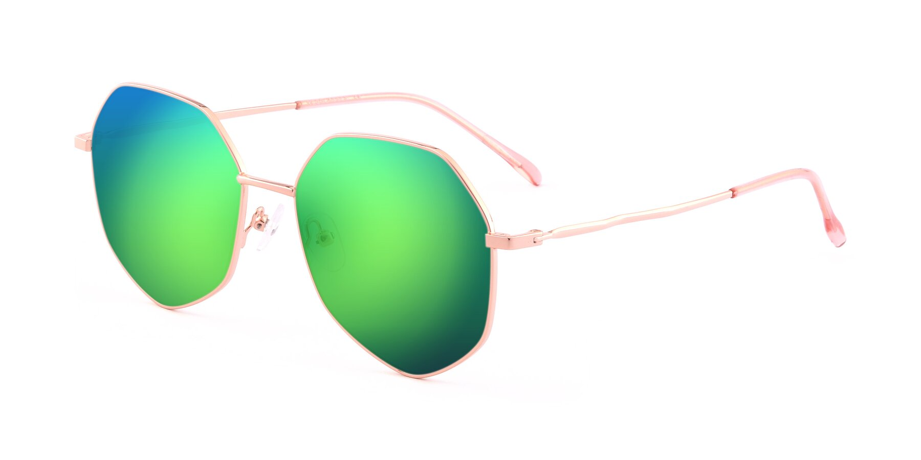 Angle of Sunshine in Rose Gold with Green Mirrored Lenses
