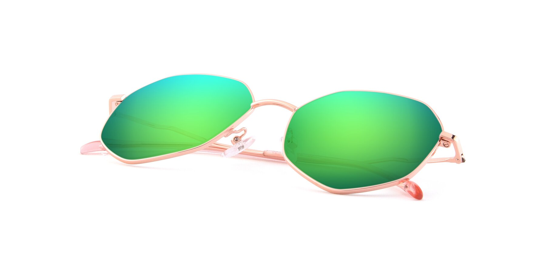 View of Sunshine in Rose Gold with Green Mirrored Lenses