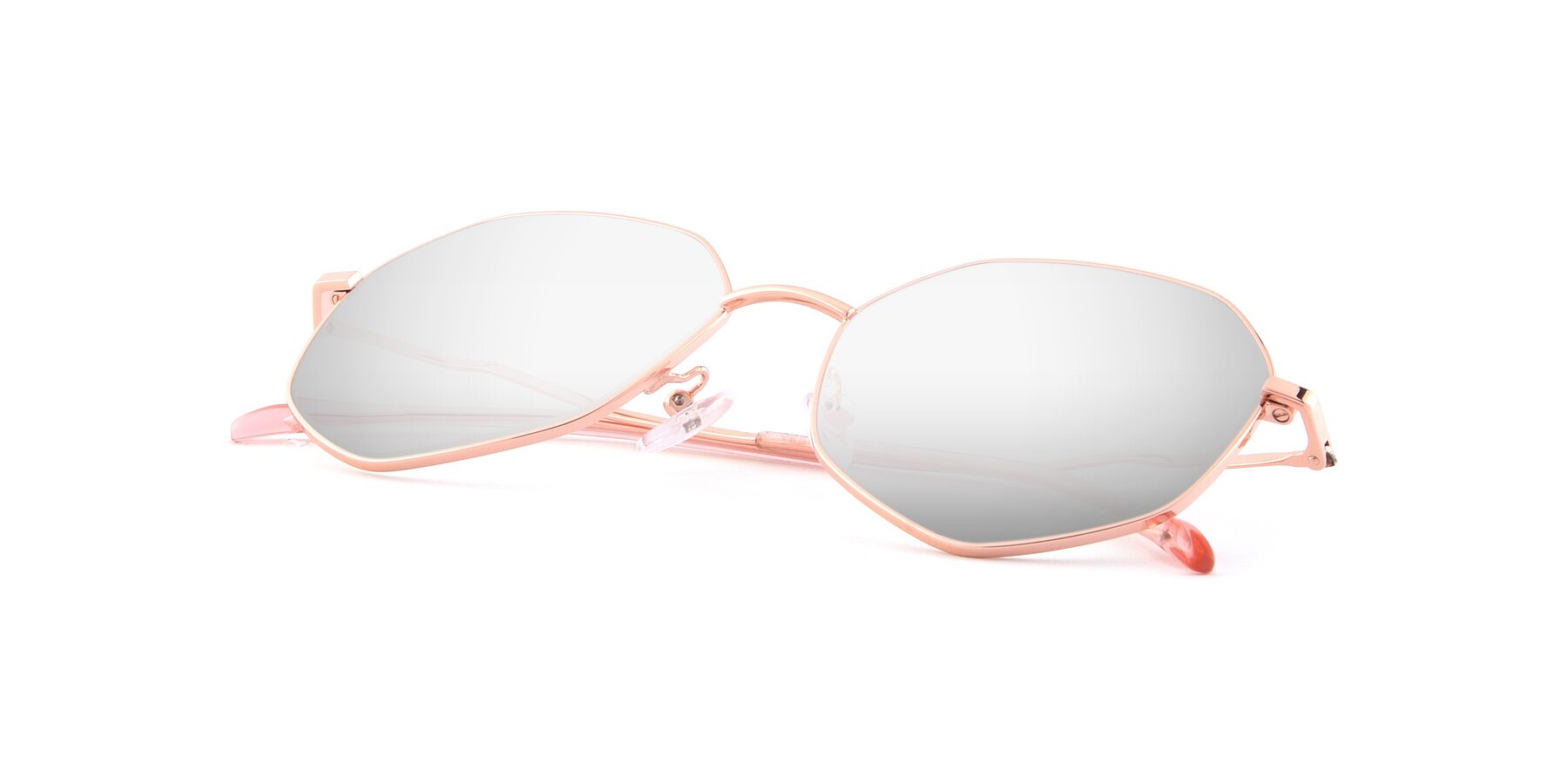 View of Sunshine in Rose Gold with Silver Mirrored Lenses