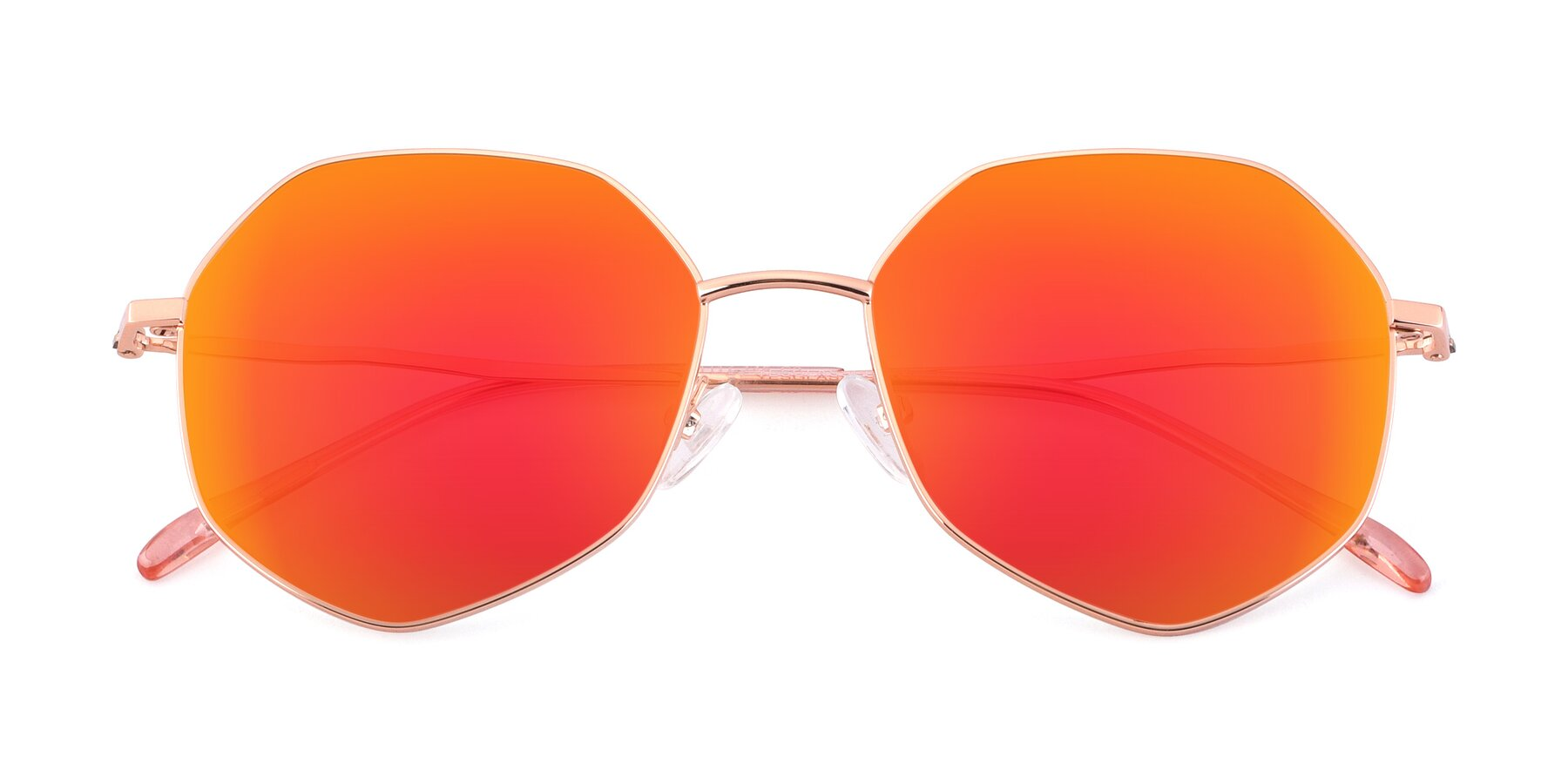 Folded Front of Sunshine in Rose Gold with Red Gold Mirrored Lenses