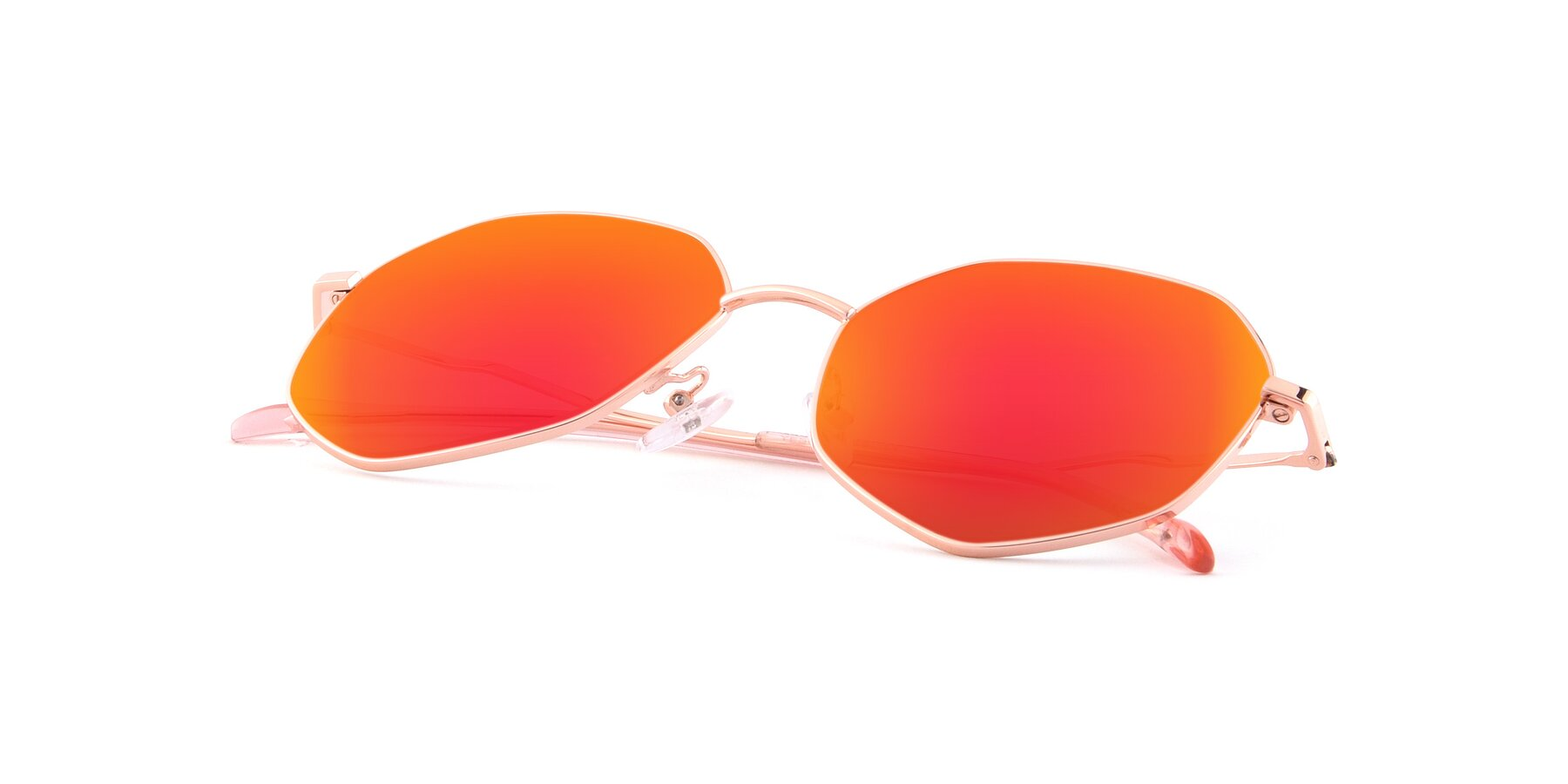 View of Sunshine in Rose Gold with Red Gold Mirrored Lenses