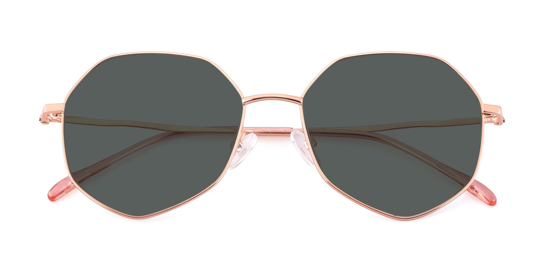 Folded Front of Sunshine in Rose Gold with Gray Polarized Lenses