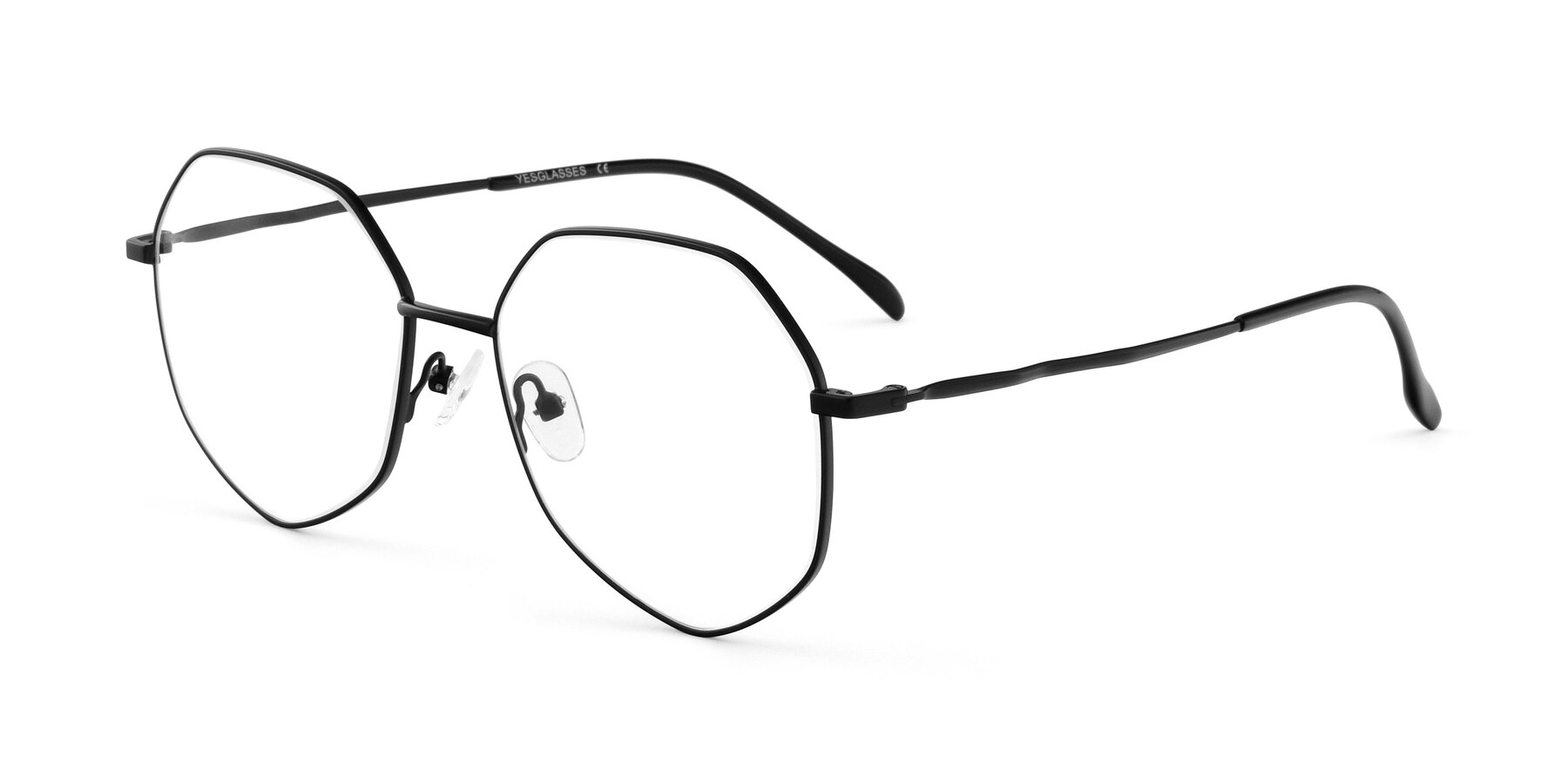 Angle of Sunshine in Black with Clear Eyeglass Lenses