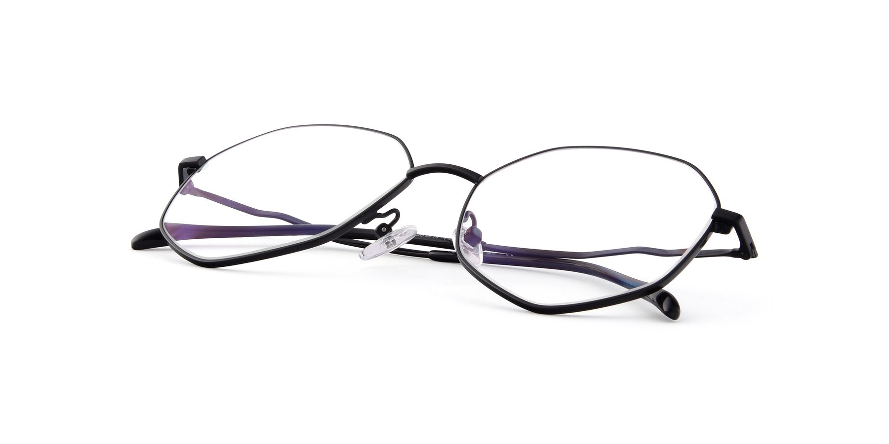 View of Sunshine in Black with Clear Eyeglass Lenses