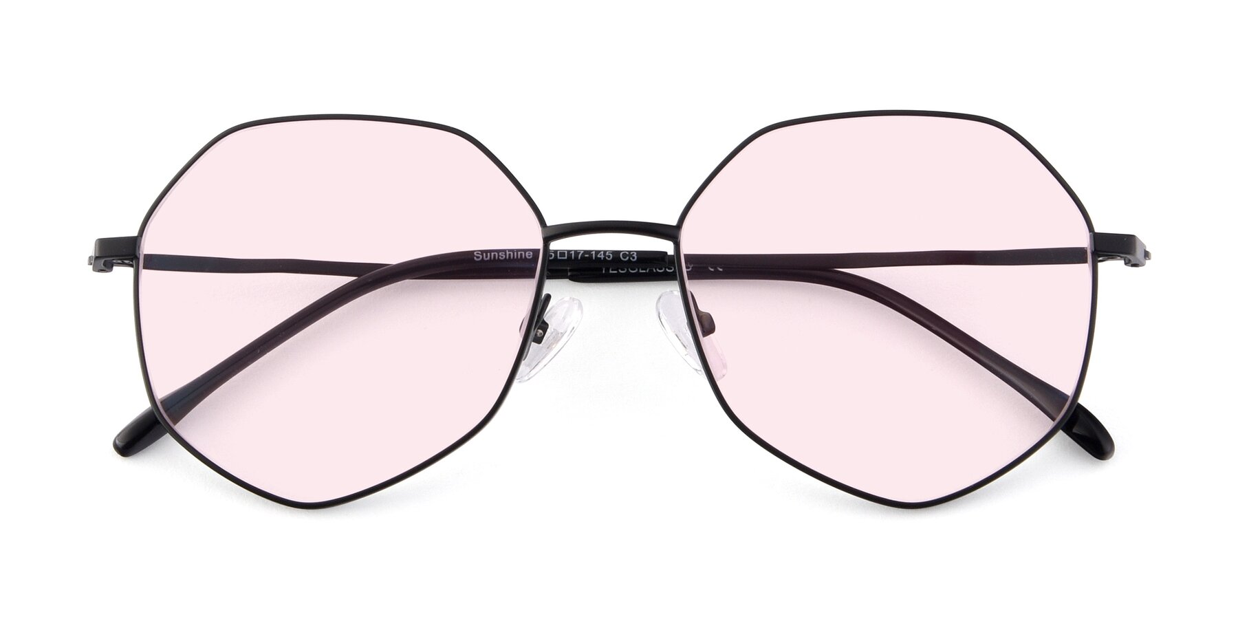Folded Front of Sunshine in Black with Light Pink Tinted Lenses