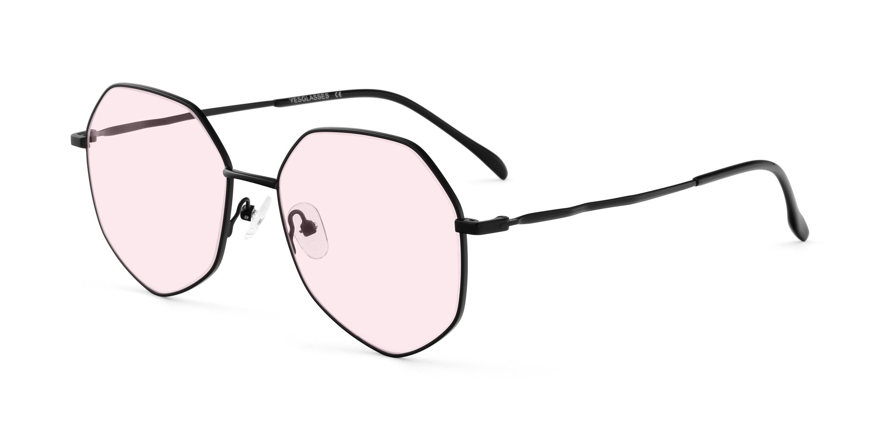 Angle of Sunshine in Black with Light Pink Tinted Lenses