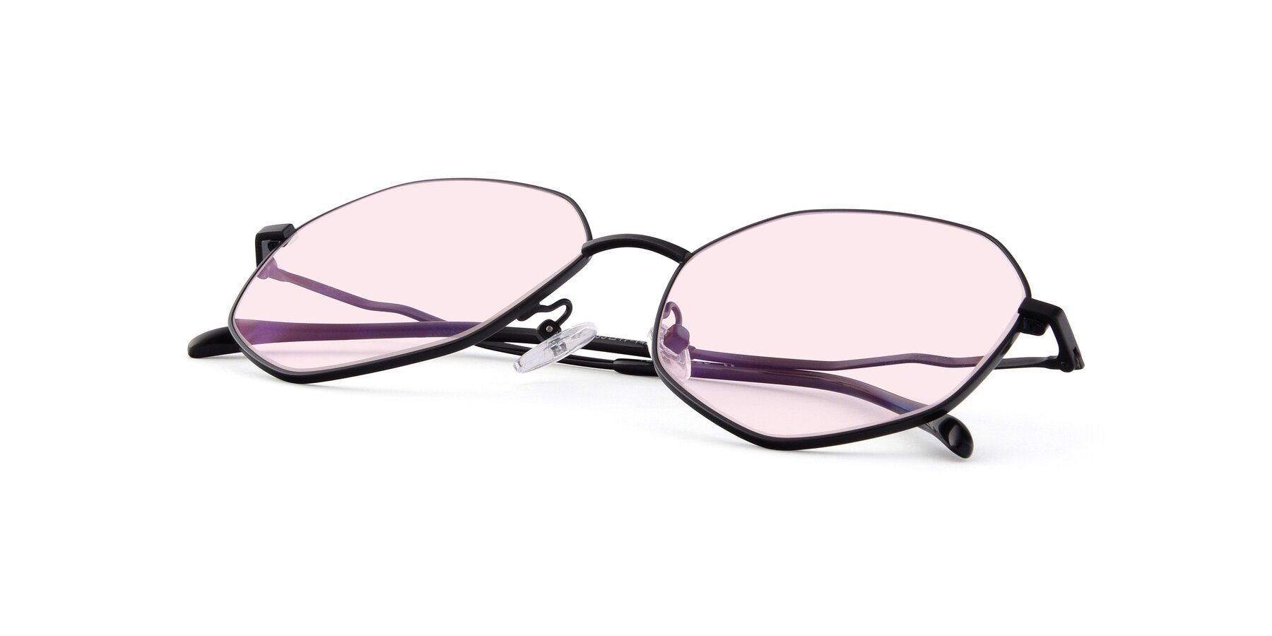 View of Sunshine in Black with Light Pink Tinted Lenses