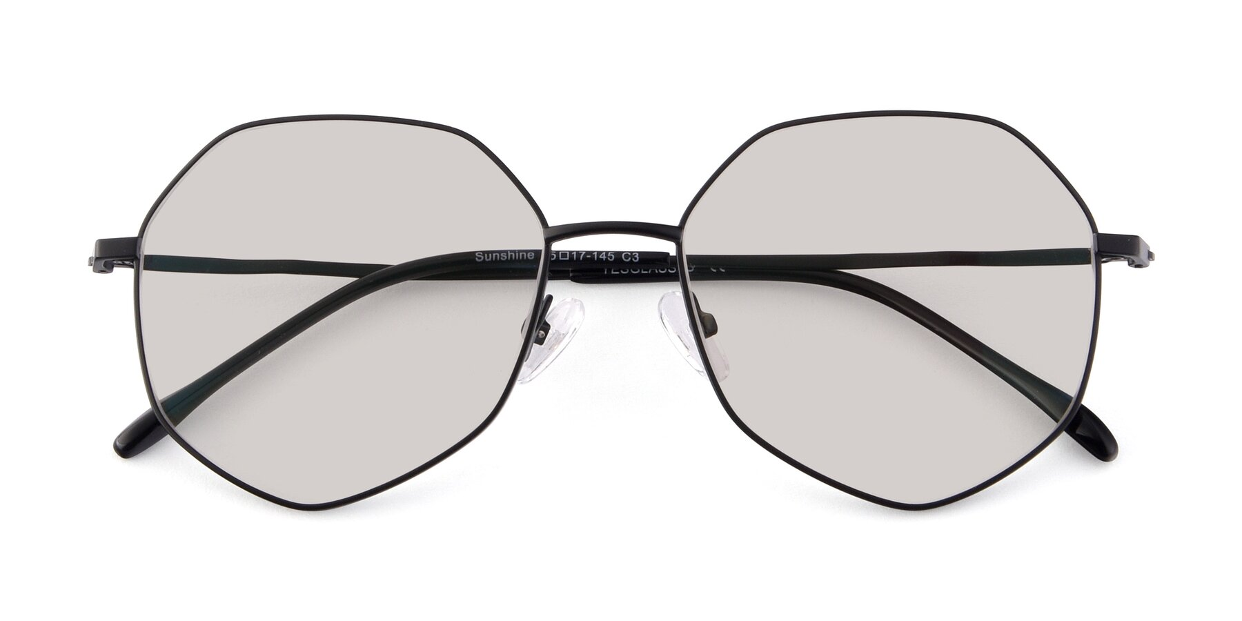 Folded Front of Sunshine in Black with Light Brown Tinted Lenses
