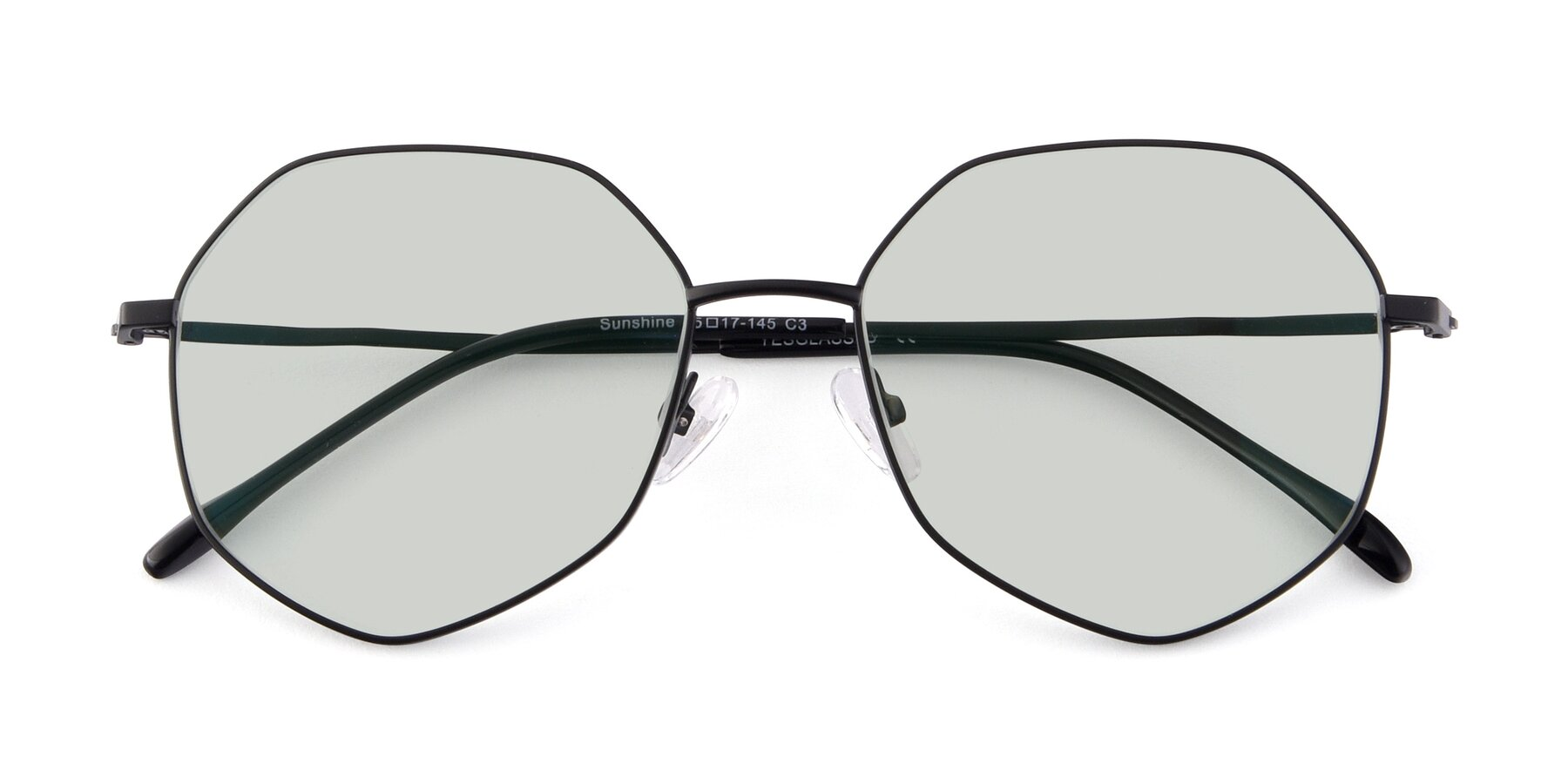 Folded Front of Sunshine in Black with Light Green Tinted Lenses