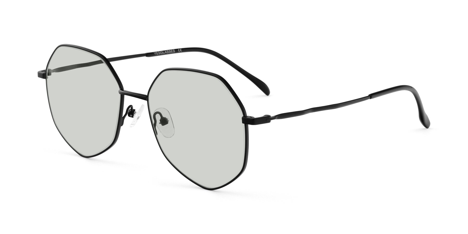 Angle of Sunshine in Black with Light Green Tinted Lenses