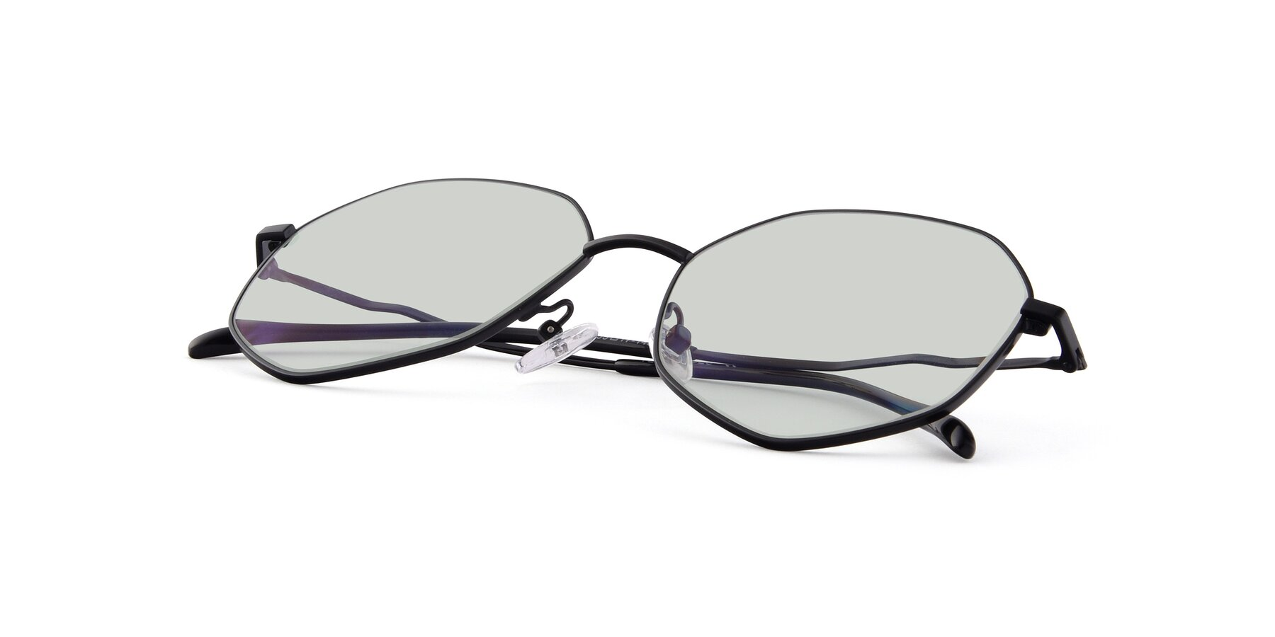 View of Sunshine in Black with Light Green Tinted Lenses