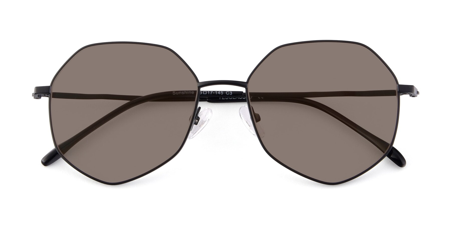 Folded Front of Sunshine in Black with Medium Brown Tinted Lenses